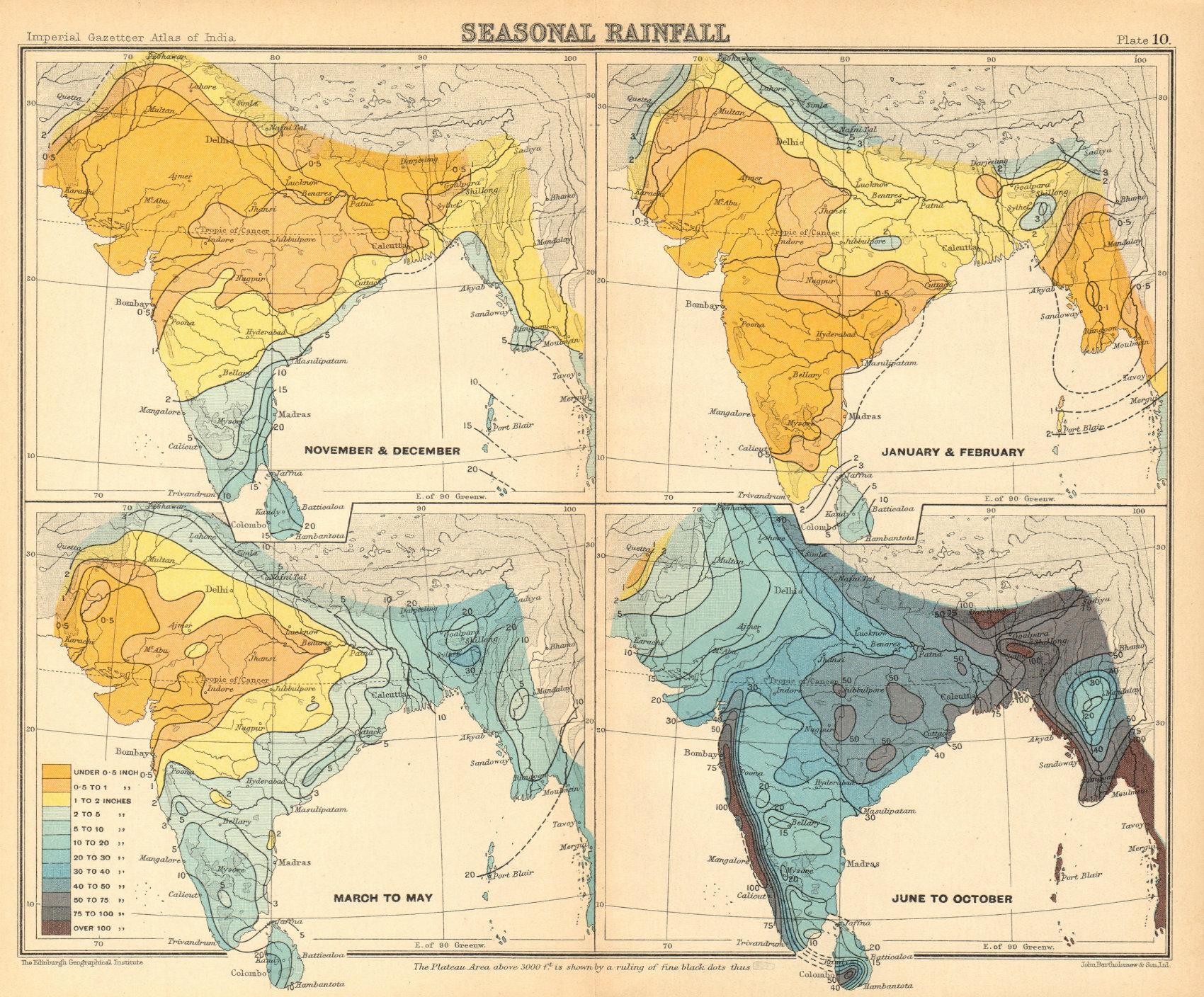 SOUTH ASIA. British India & Burma. Seasonal Rainfall 1931 old vintage map