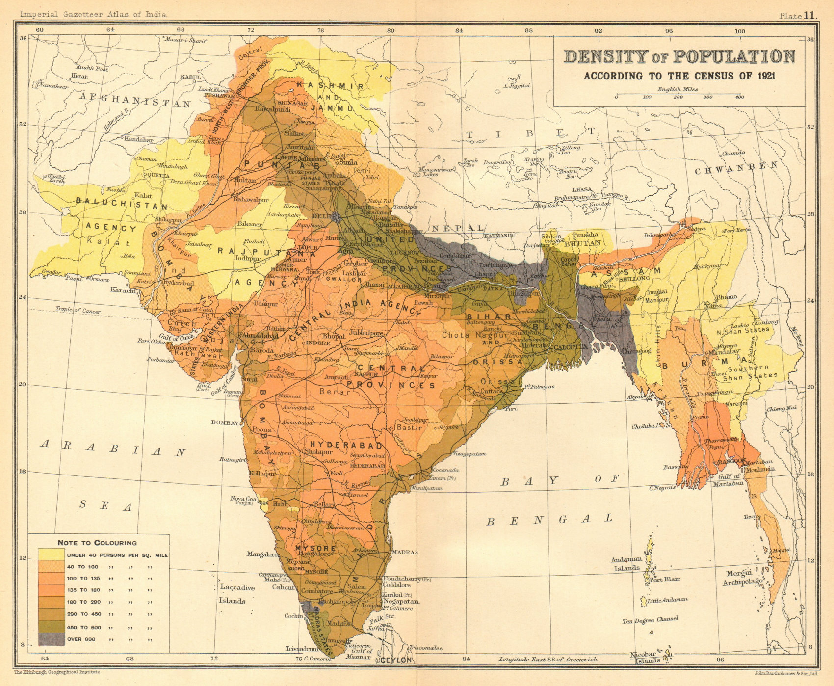 Associate Product BRITISH INDIA South Asia Burma. Population density 1921 census 1931 old map