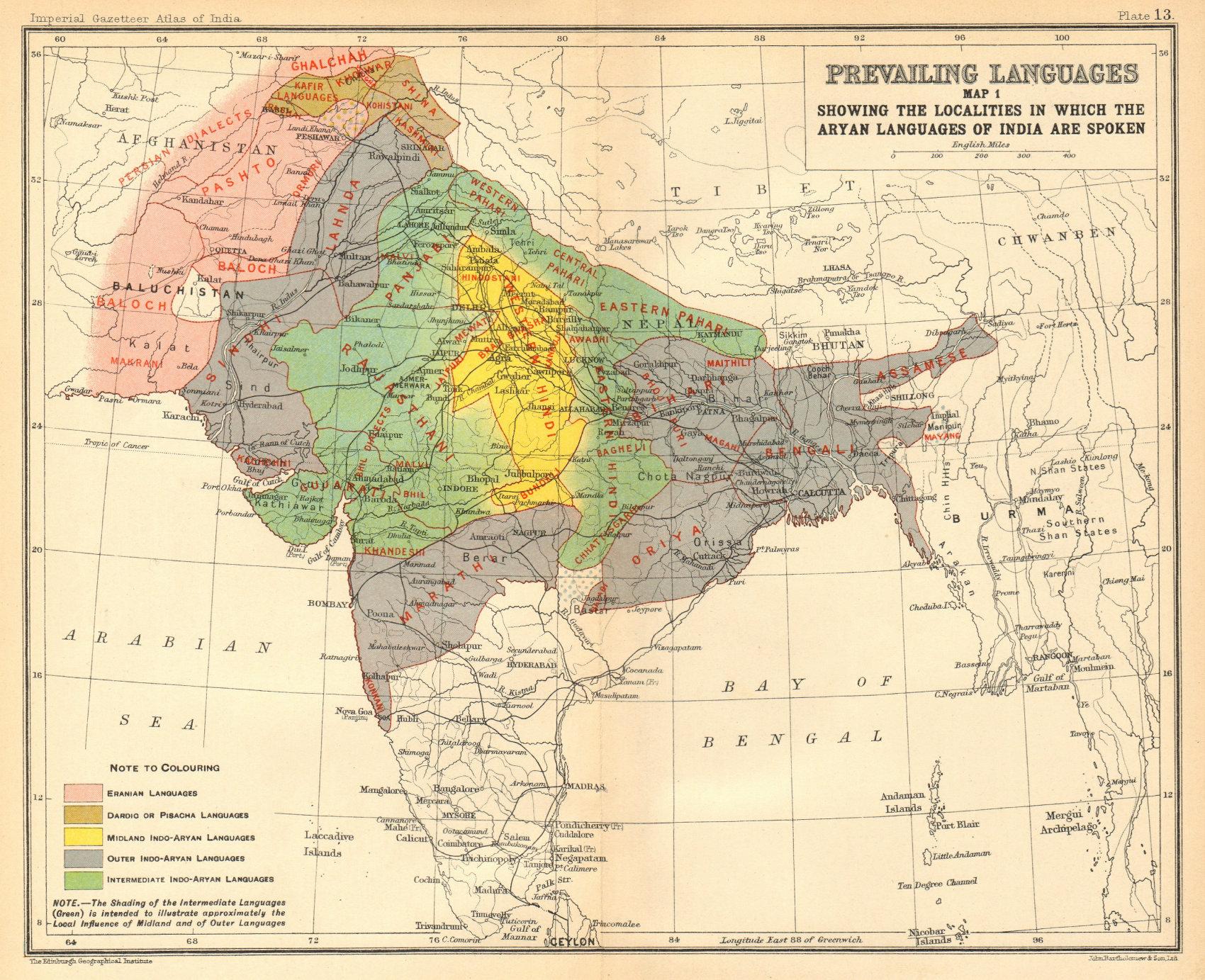 Associate Product INDIA South Asia Aryan languages. Eranian Pisacha Indo-Aryan Dardio 1931 map