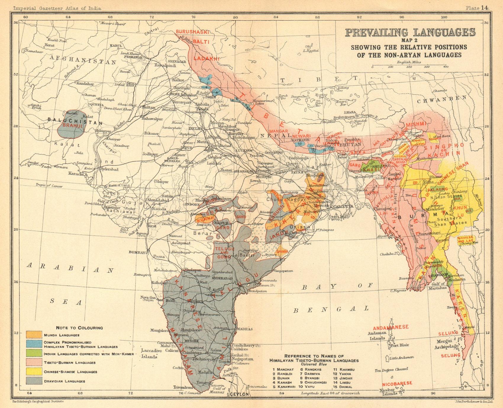 Associate Product INDIA South Asia non-Aryan languages. Dravidian Tibeto-Burman Munda 1931 map
