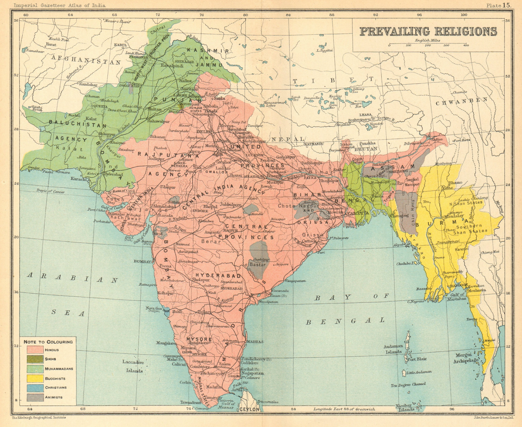Associate Product BRITISH INDIA. South Asia religions. Hindu Muslim Buddhist Animist Sikh 1931 map