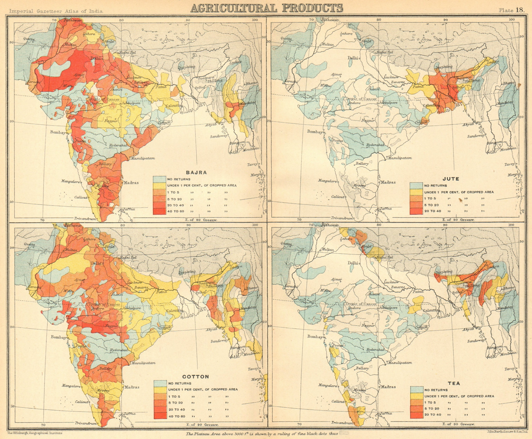 Associate Product BRITISH INDIA Agricultural Produce. Cotton, Tea, Jute & Bajra 1931 old map
