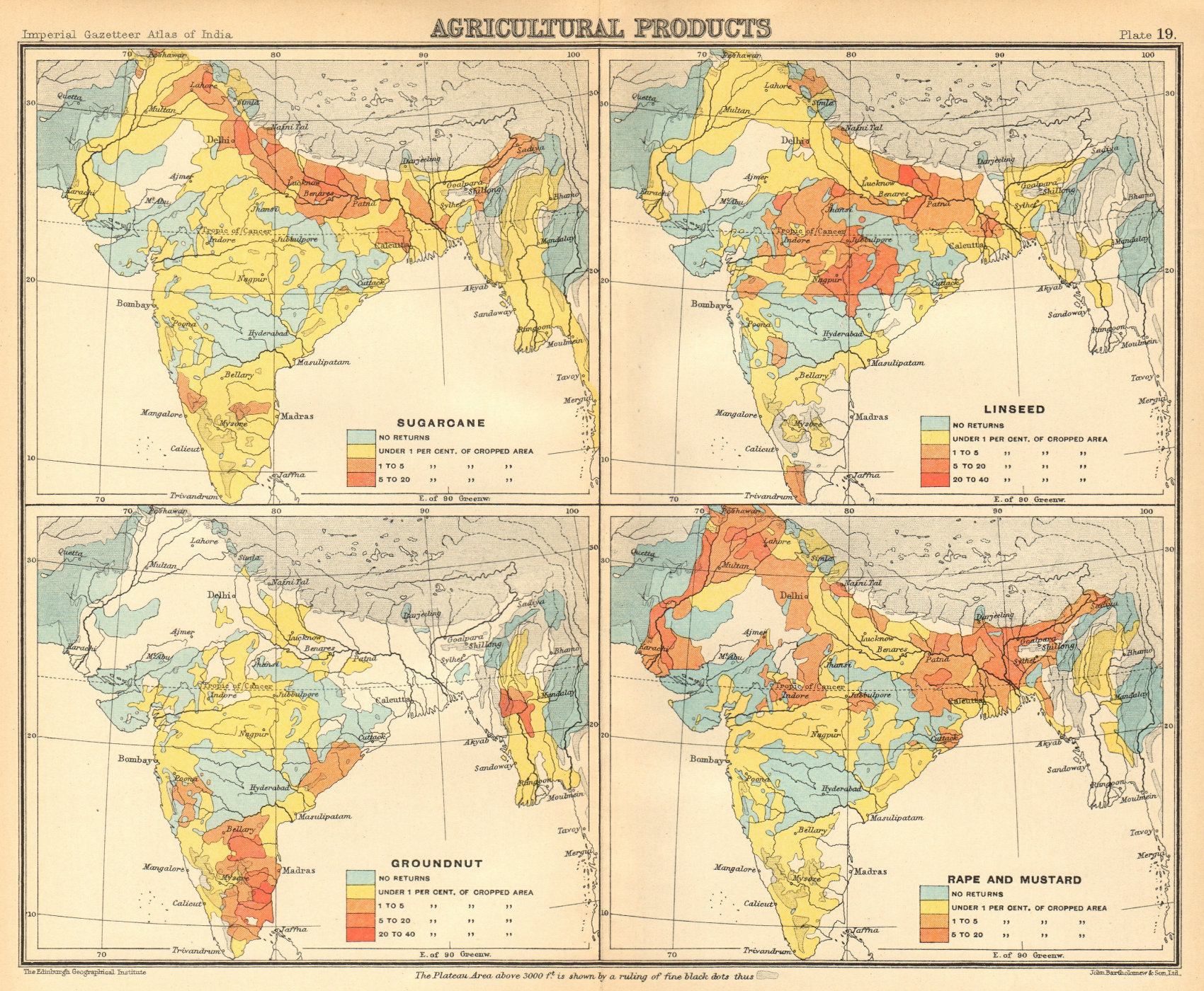 Associate Product BRITISH INDIA Agricultural Produce. Sugarcane Groundnut Linseed Rape 1931 map