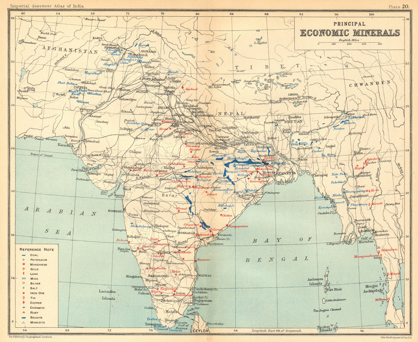 BRITISH INDIA Mineral production. Coal Iron Gold Salt Petrol Manganese 1931 map