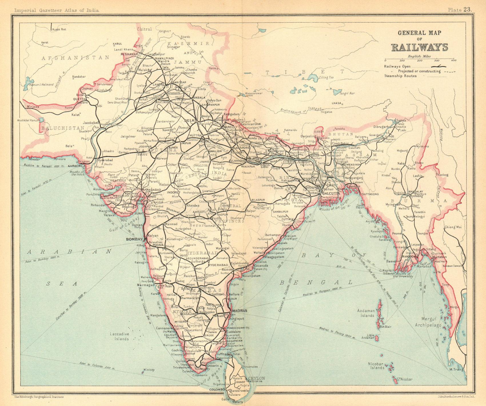Associate Product BRITISH INDIA. General Map of Railways. Burma Pakistan 1931 old vintage