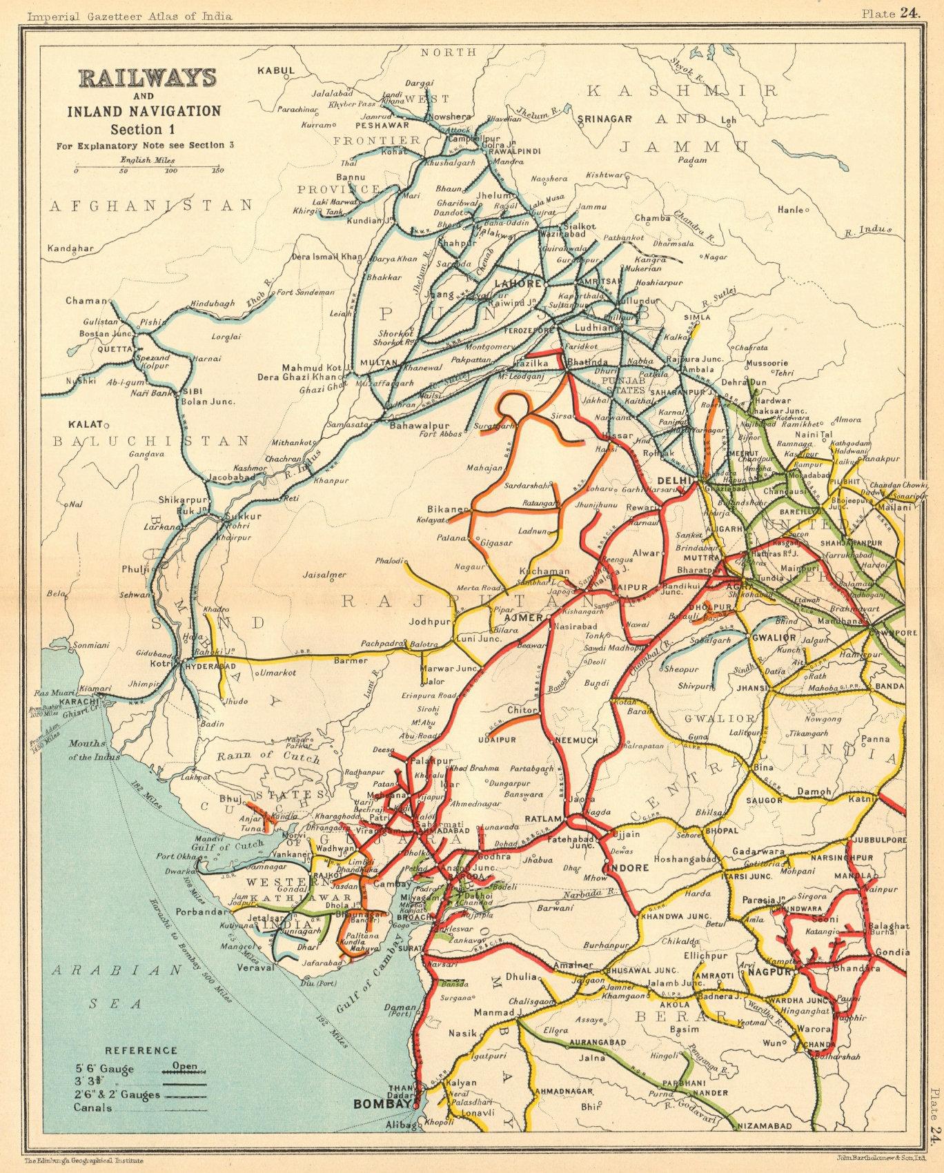 Associate Product BRITISH INDIA RAILWAYS North-west. Pakistan Punjab Rajasthan Gujarat 1931 map