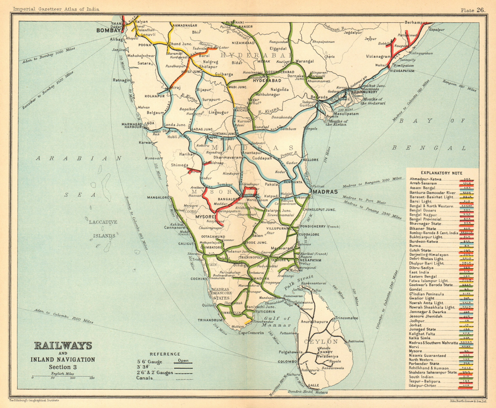 Associate Product BRITISH INDIA RAILWAYS South. Tamil Nadu Karnataka Kerala Maharashtra 1931 map