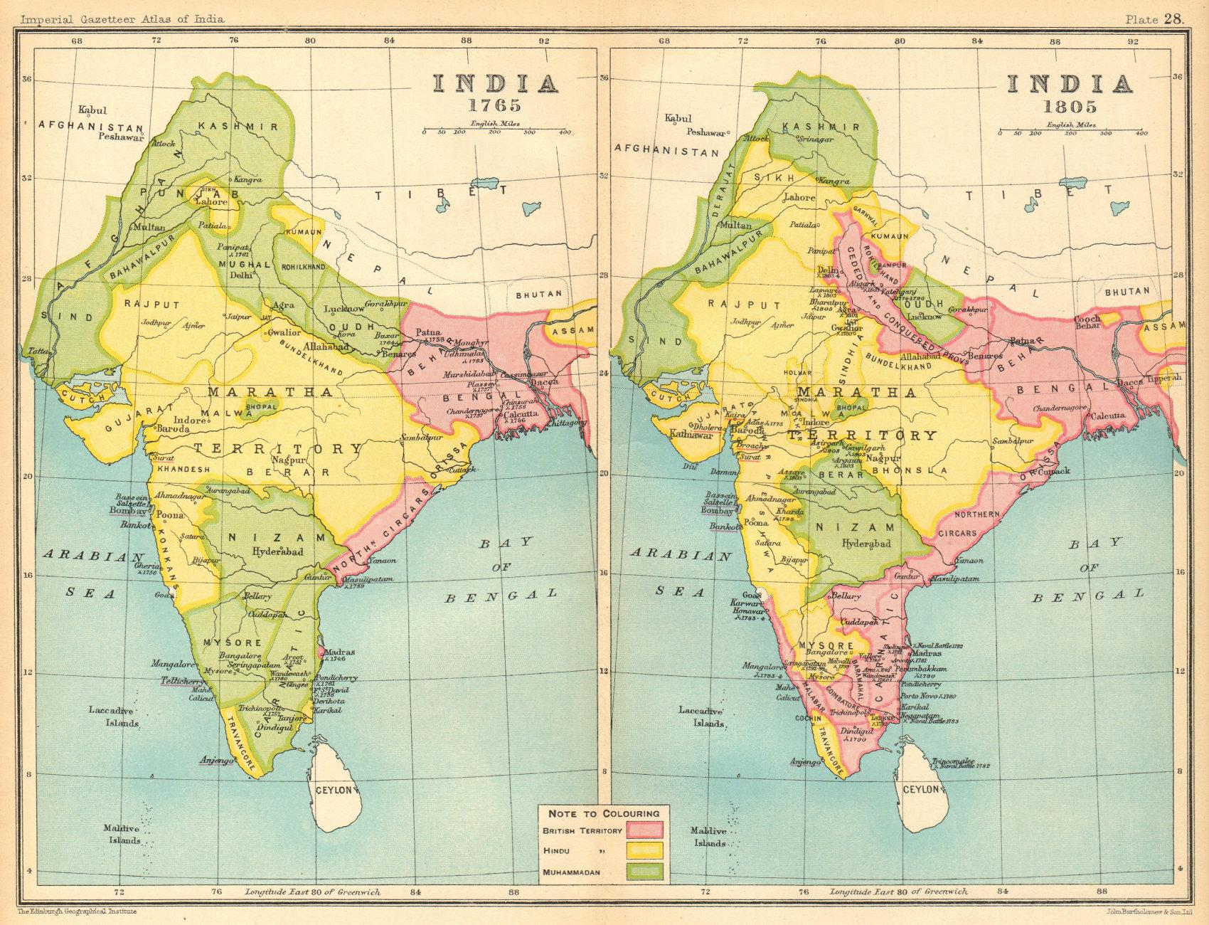 INDIA HISTORICAL. 1765 & 1805. British, Hindu & Muslim states 1931 old map