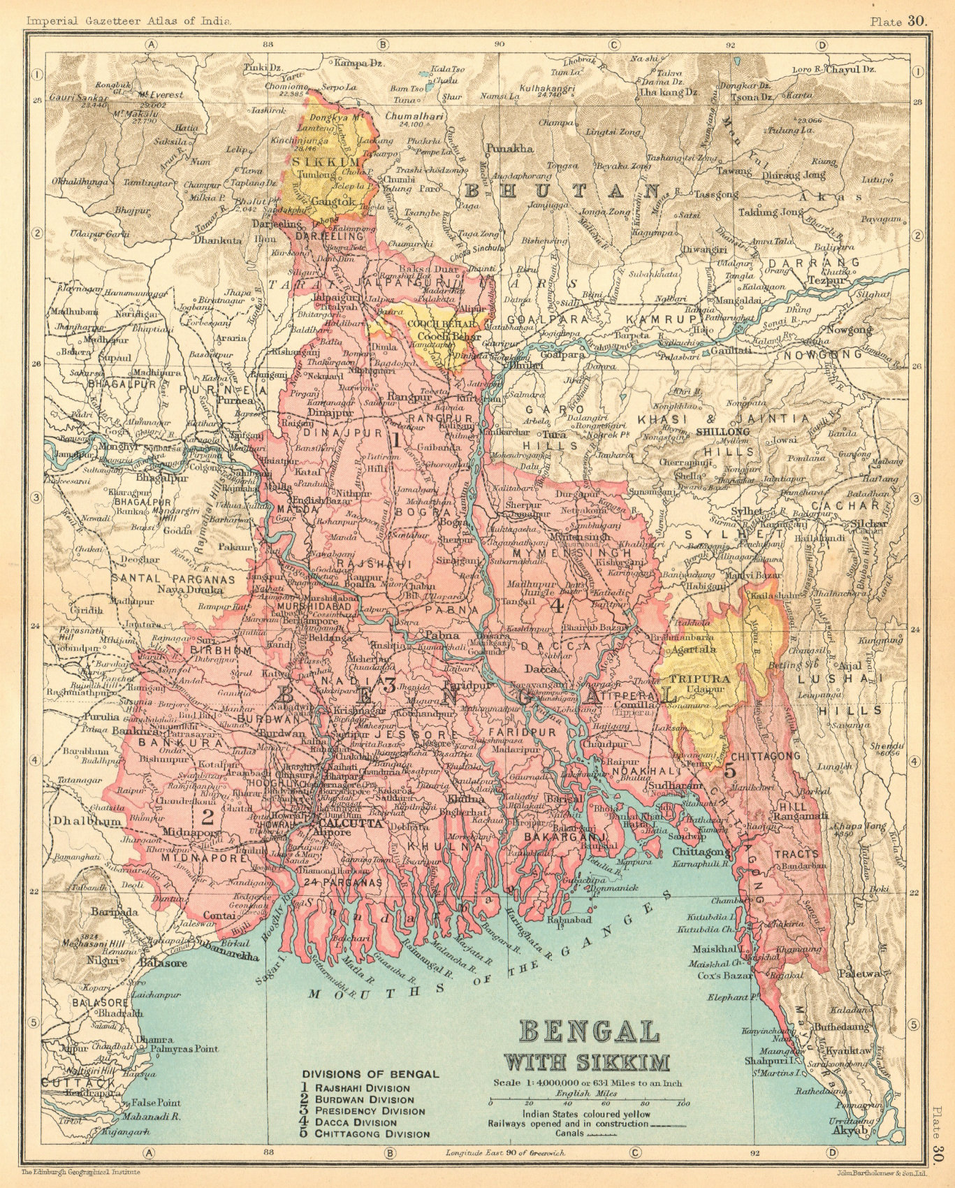 Associate Product 'Bengal, with Sikkim. British India provinces. Bihar Jharkhand Orissa 1931 map