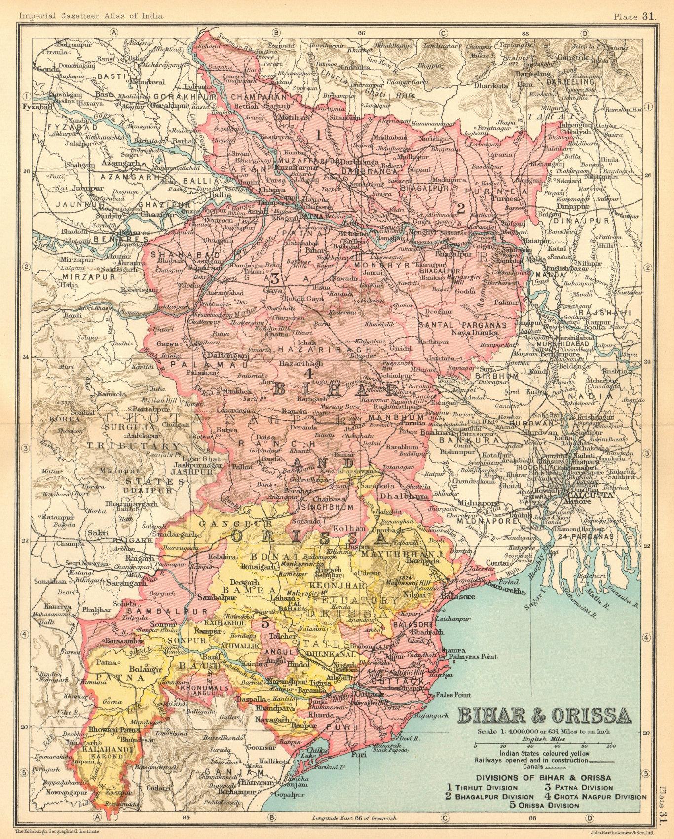 Associate Product 'Bihar & Orissa'. British India provinces. Odisha Jharkhand 1931 old map