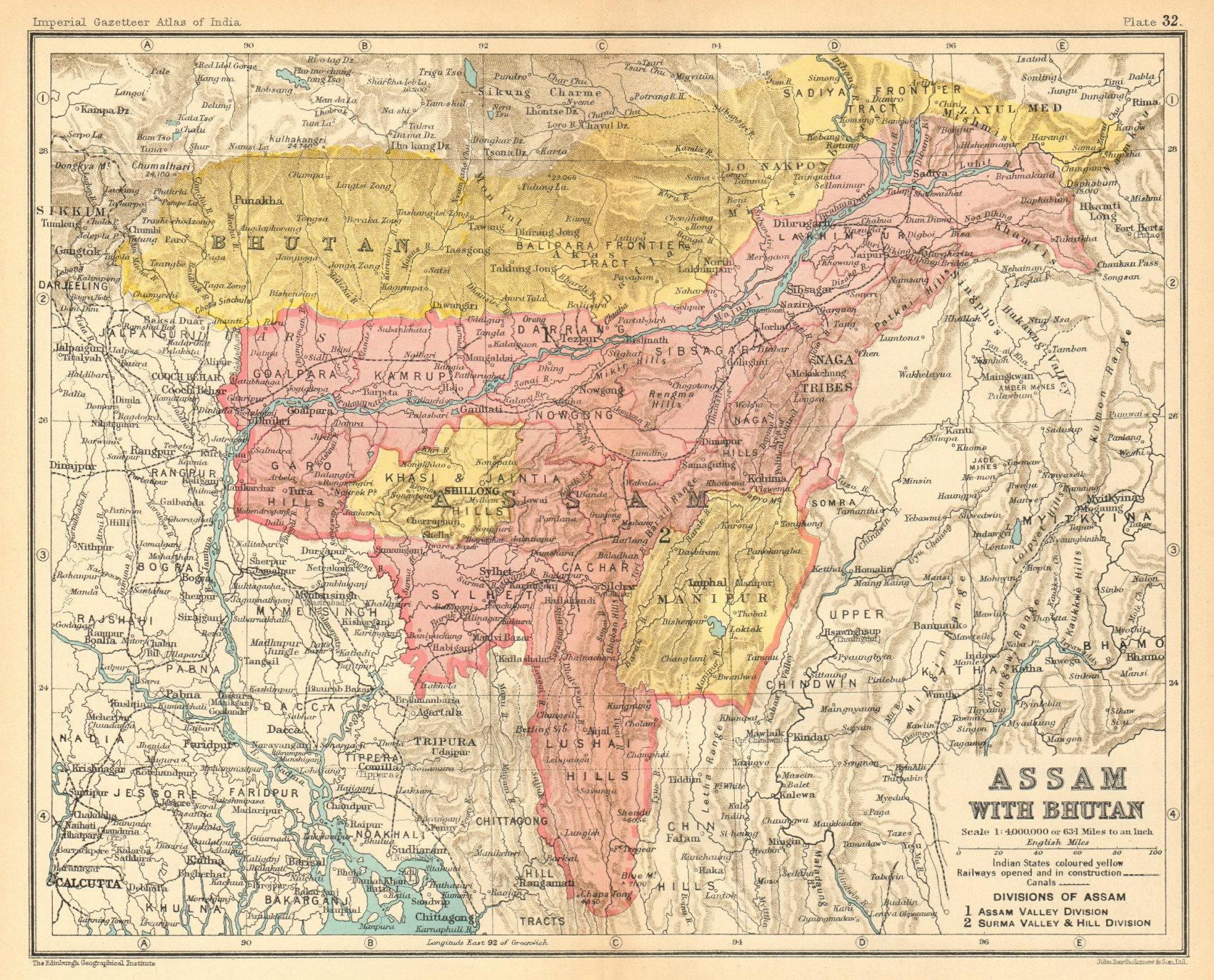 Associate Product 'Assam with Bhutan'. North-east British India/Bangladesh provinces 1931 map