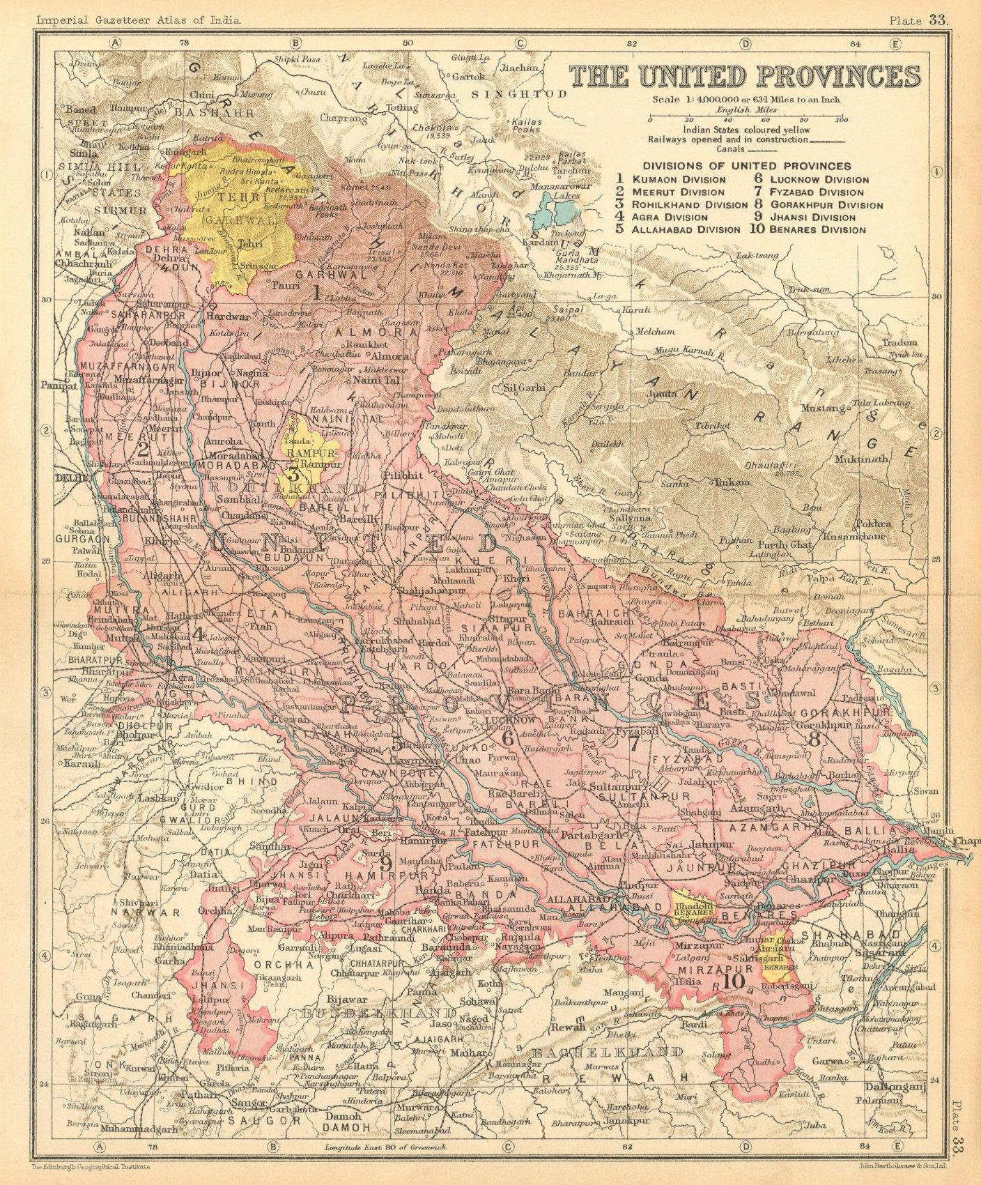 Associate Product 'The United Provinces'. British India. Uttar Pradesh & Uttarakhand 1931 map