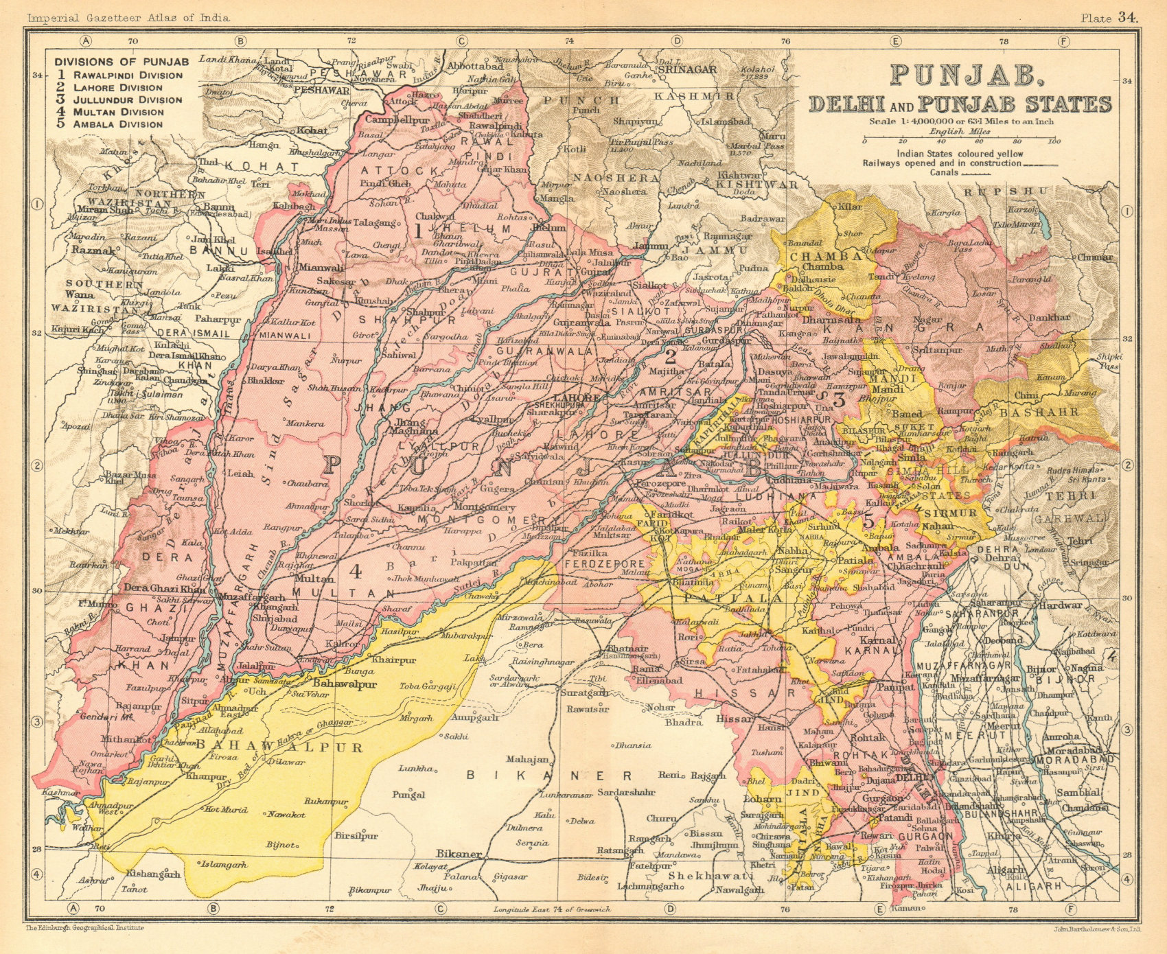 Associate Product Punjab. British India/Pakistan province. Haryana Himachal Pradesh Delhi 1931 map