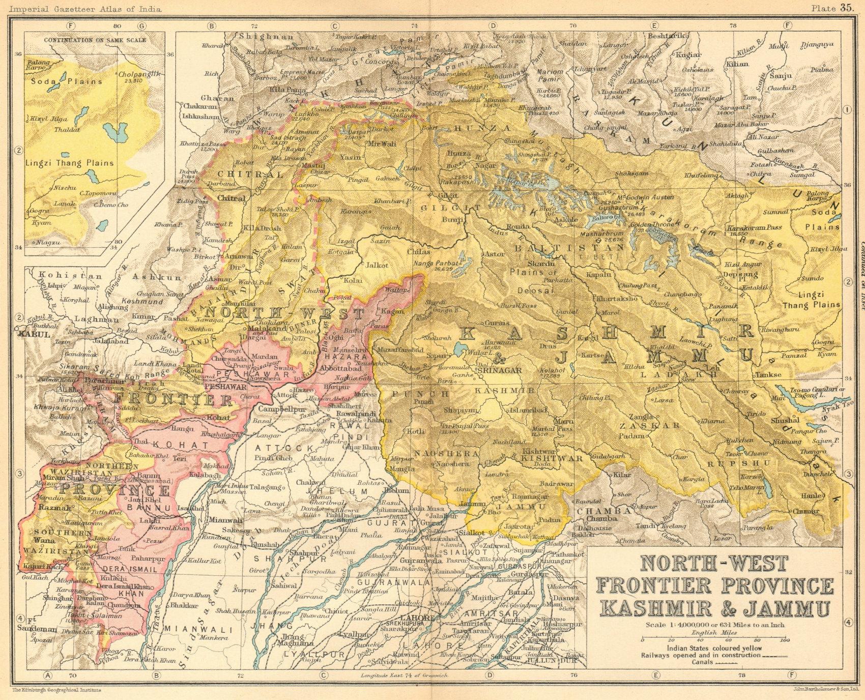 North-West Frontier Province, Jammu & Kashmir'. British India/Pakistan 1931 map