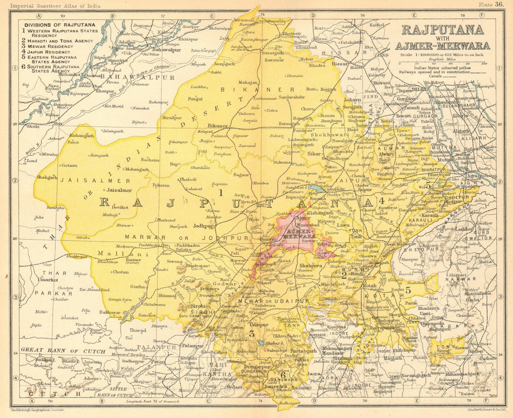 Associate Product 'Rajputana, with Ajmer-Merwara'. British India provinces. Rajasthan 1931 map