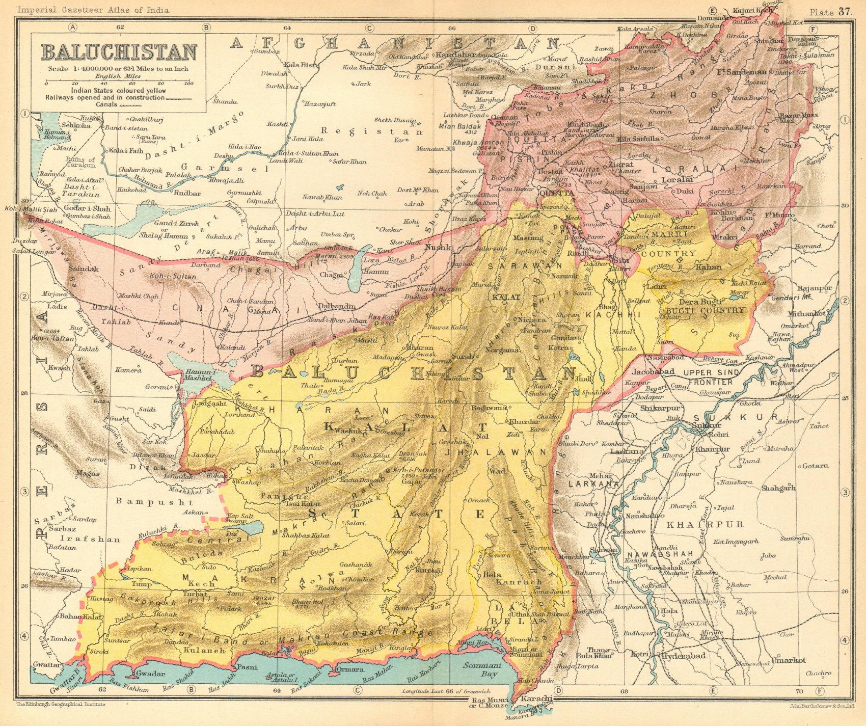 Associate Product 'Baluchistan'. British India/Pakistan province. Balochistan 1931 old map