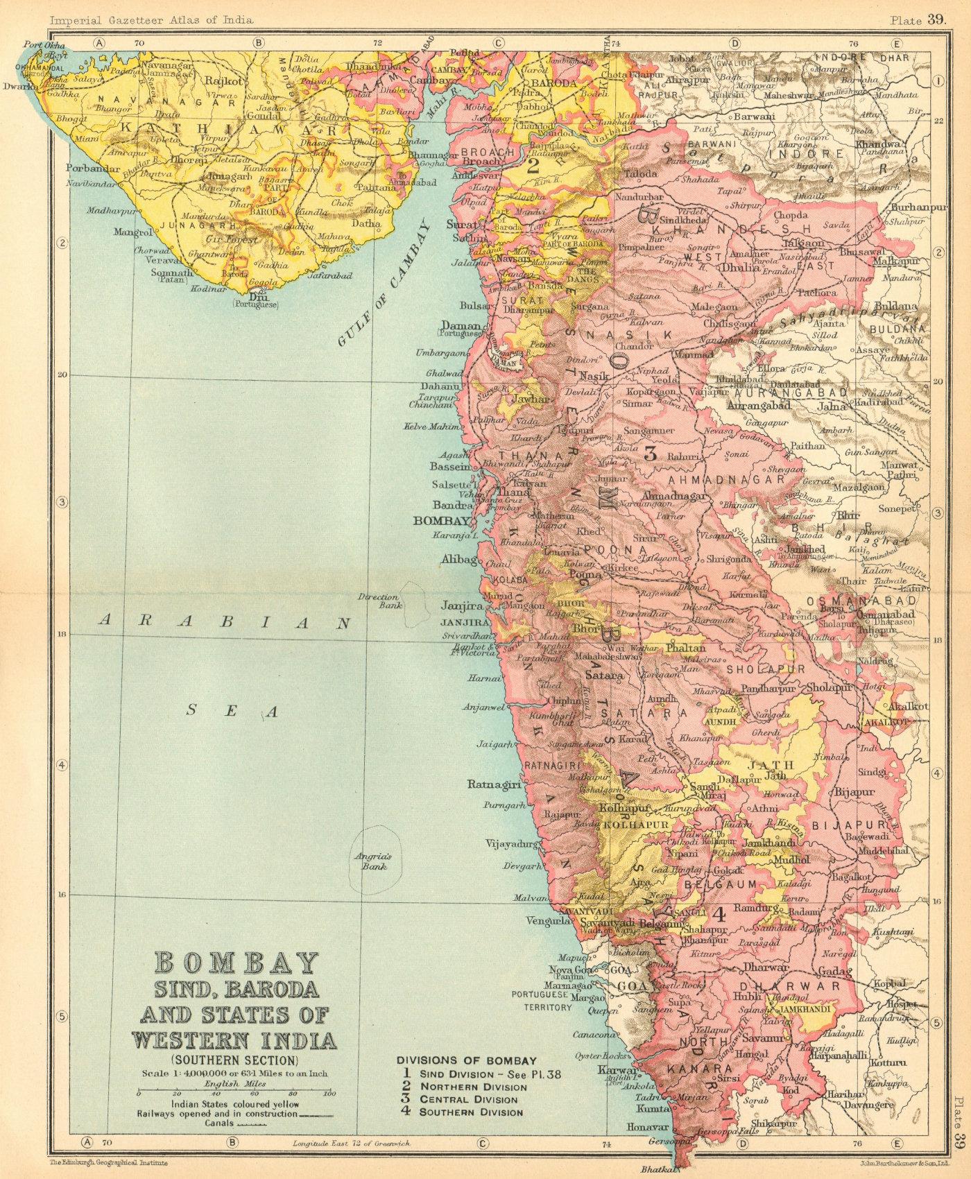 Associate Product Bombay South & part of Baroda. British India provinces. Maharashtra 1931 map