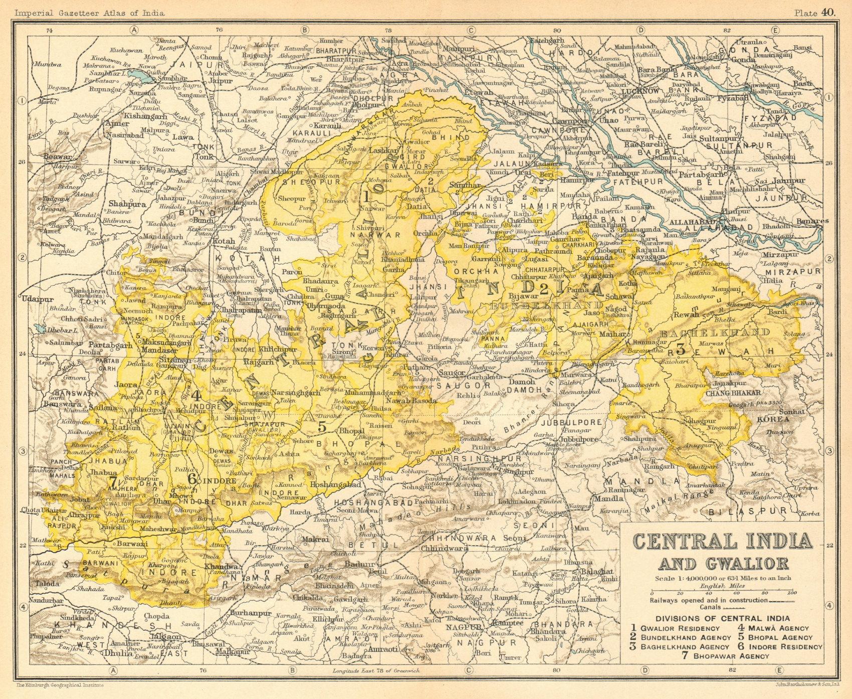 Associate Product 'Central India & Gwalior'. British India provinces. Madhya Pradesh 1931 map