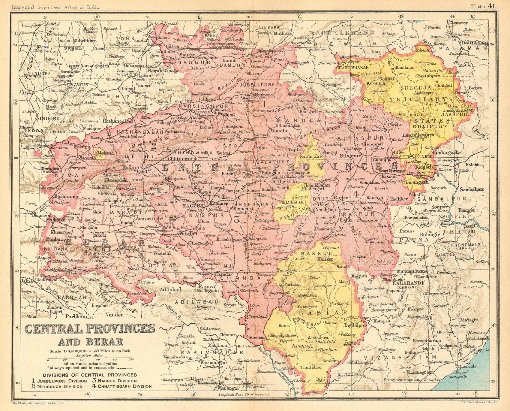 Associate Product 'Central Provinces & Berar'. British India. MP Chhattisgarh Maharashtra 1931 map