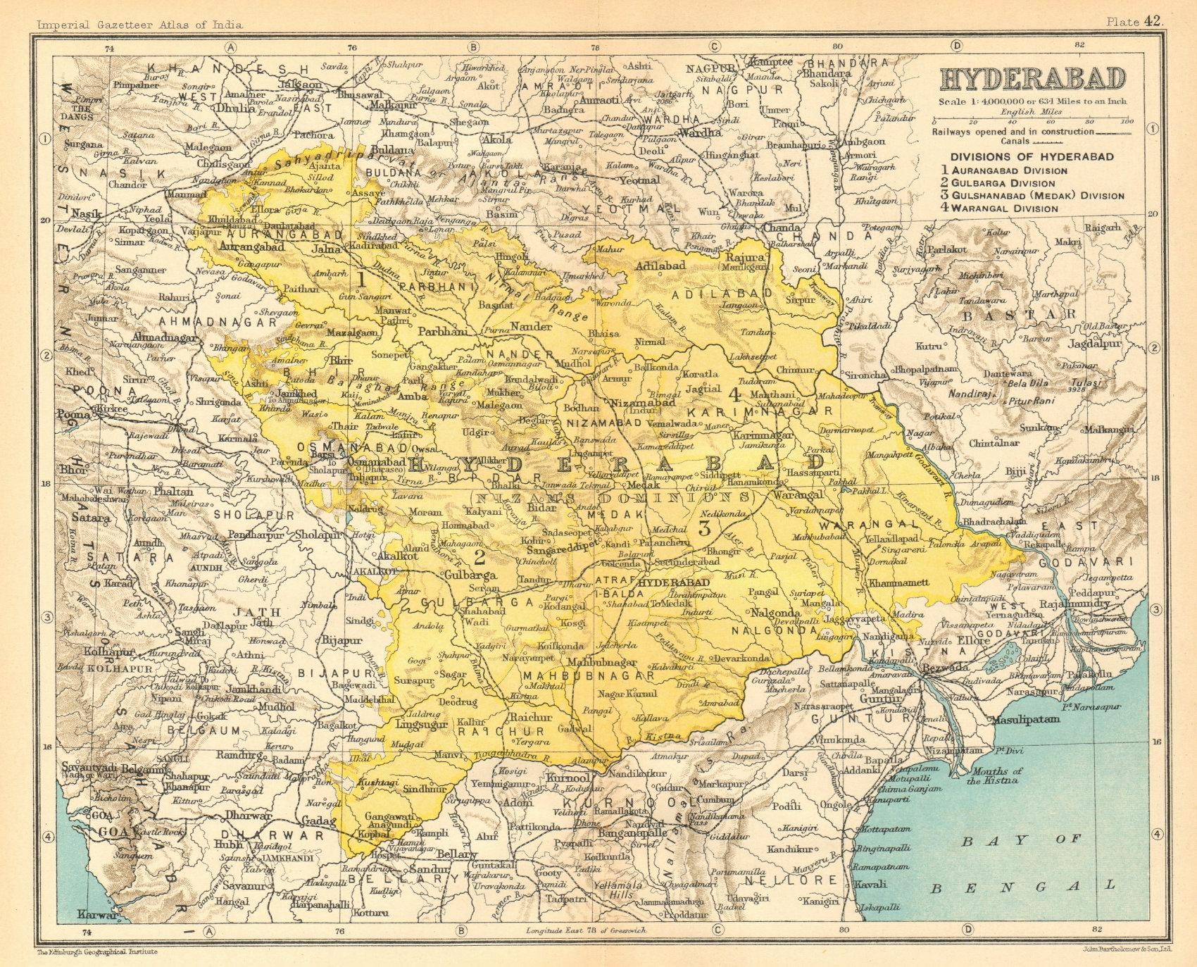 Associate Product 'Hyderabad'. British India province. Telangana Maharashtra Karnataka 1931 map