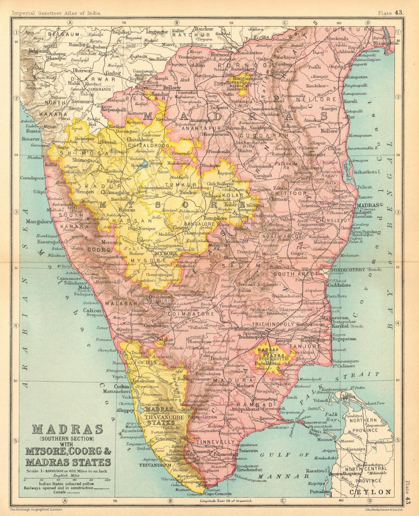Associate Product Mysore, Coorg & Madras states'. South British India. Kerala Tamil Nadu 1931 map