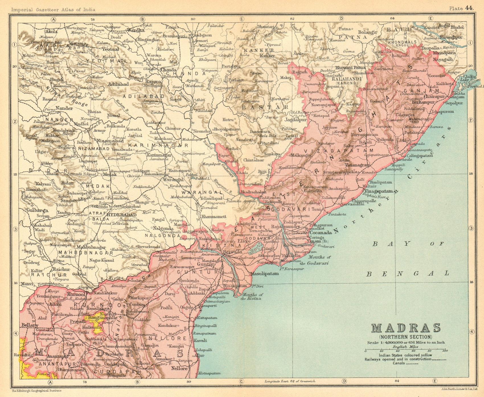 'Madras (Northern Section)'. British India provinces. Andhra Pradesh 1931 map