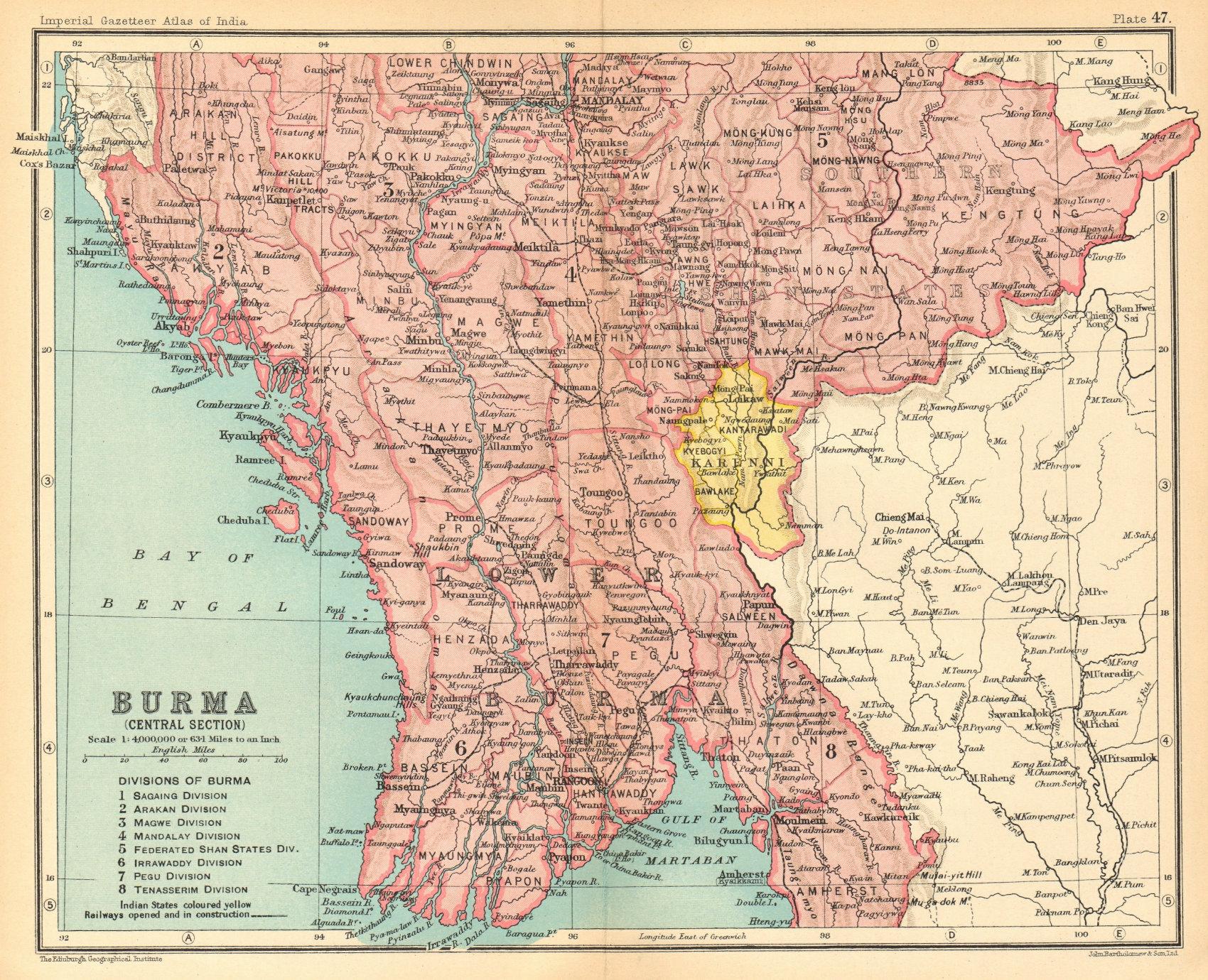 Associate Product British Burma Central. Karenni states. Myanmar. Railways. Rangoon 1931 old map