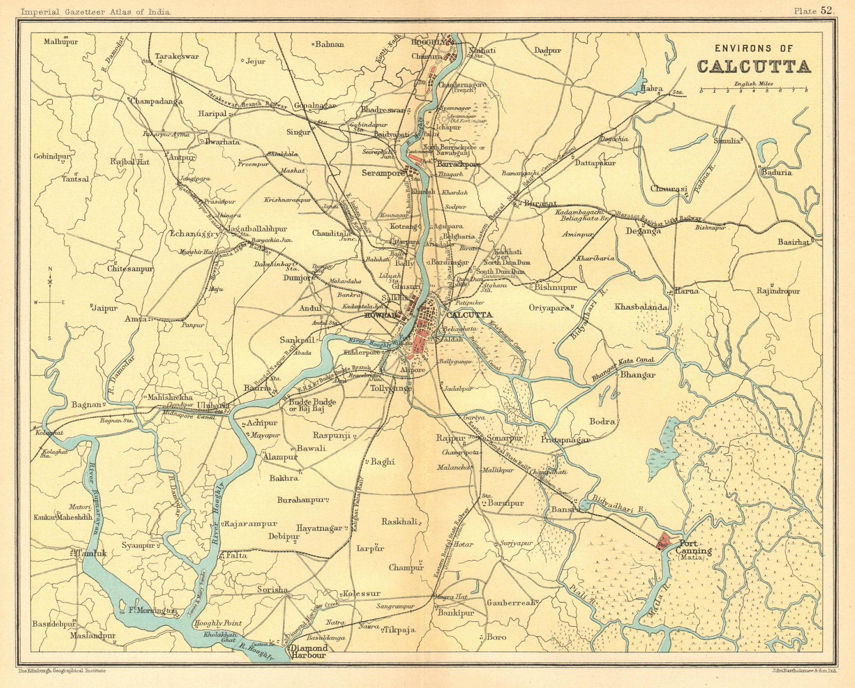 Associate Product Calcutta/Kolkata environs Hooghly Canning Diamond Harbour British India 1931 map