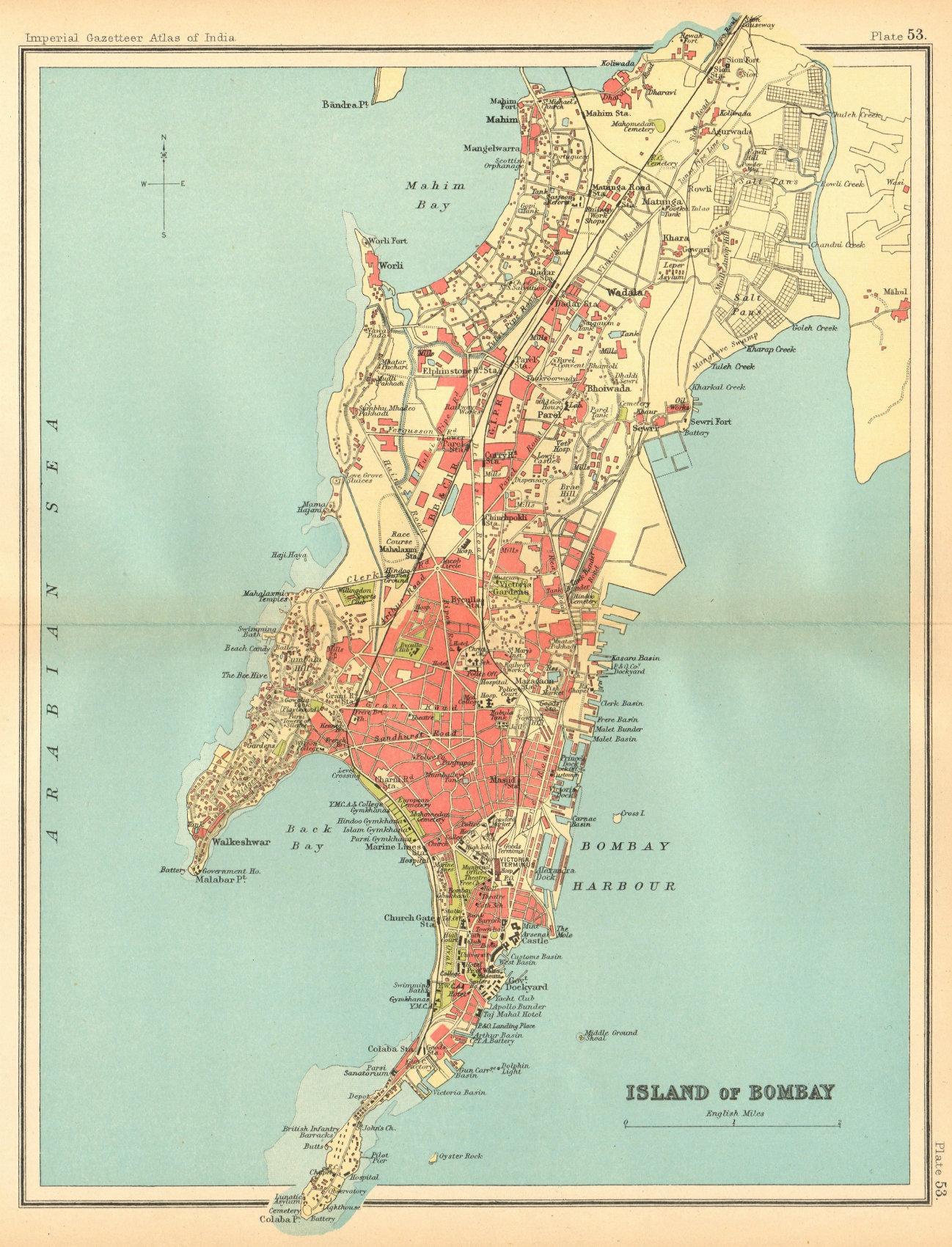 Associate Product Bombay Island town city plan. Mumbai. British India 1931 old vintage map chart