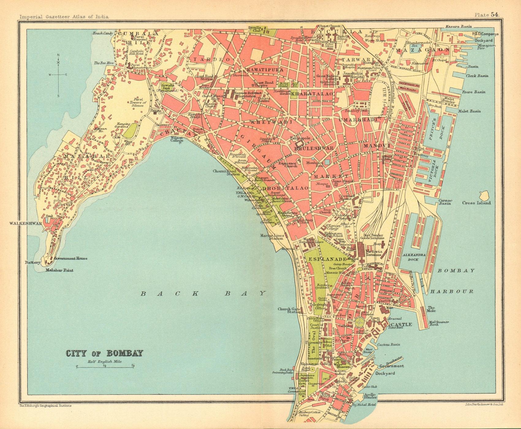 Associate Product Bombay / Mumbai town city plan. Key buildings & docks. British India 1931 map