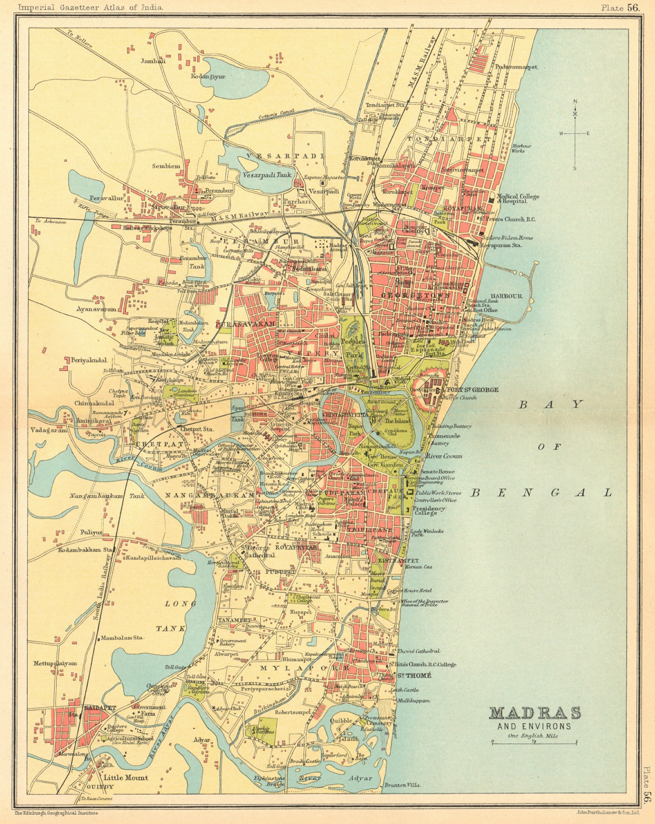 Associate Product Madras / Chennai town city plan. Key buildings. British India 1931 old map