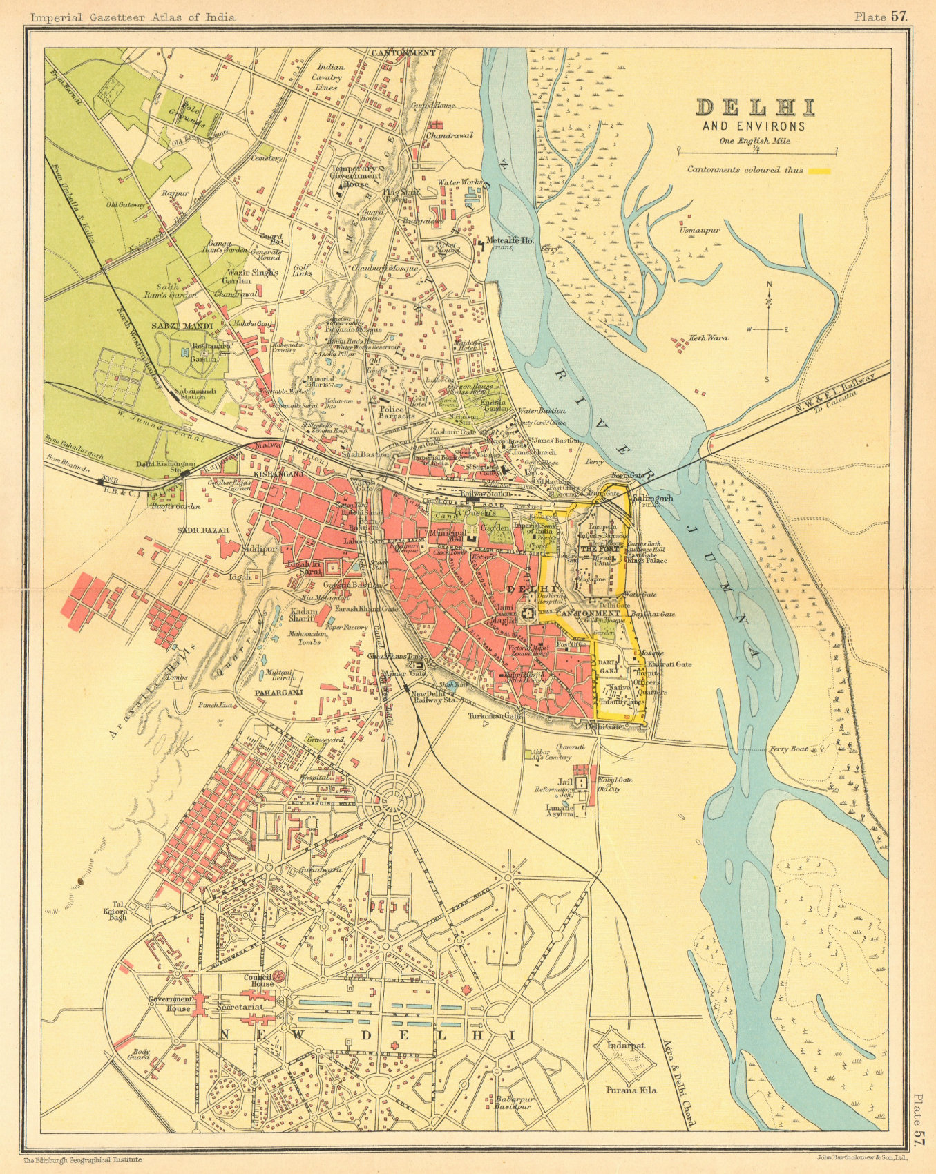 Associate Product Delhi town city plan. Key buildings & Cantonment. British India 1931 old map