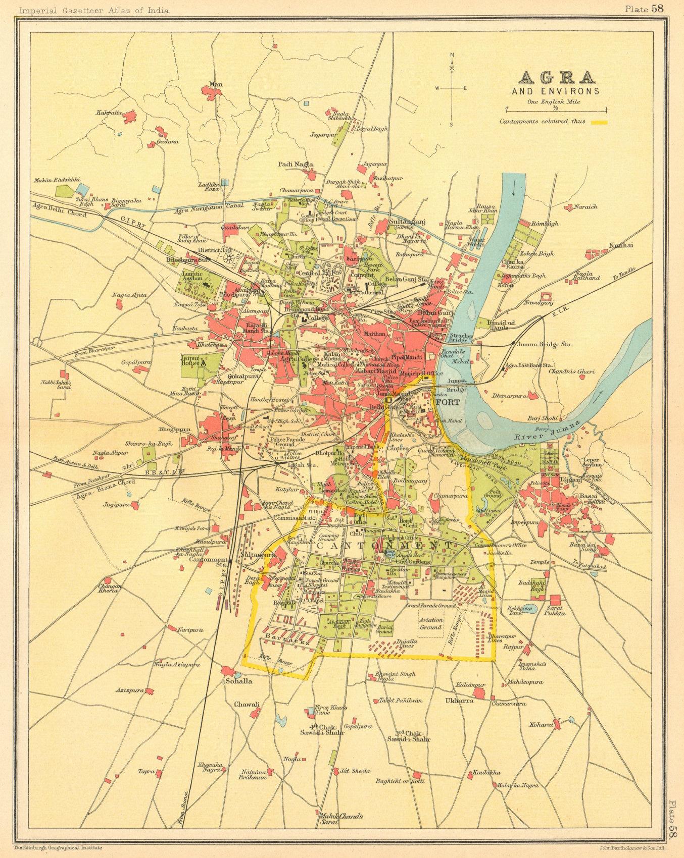 Associate Product Agra town city plan. Cantonment, Fort & Taj Mahal. British India 1931 old map