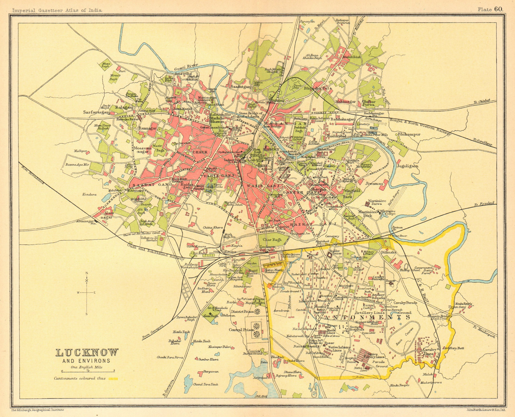 Associate Product Lucknow town city plan. Cantonment & key buildings. British India 1931 old map