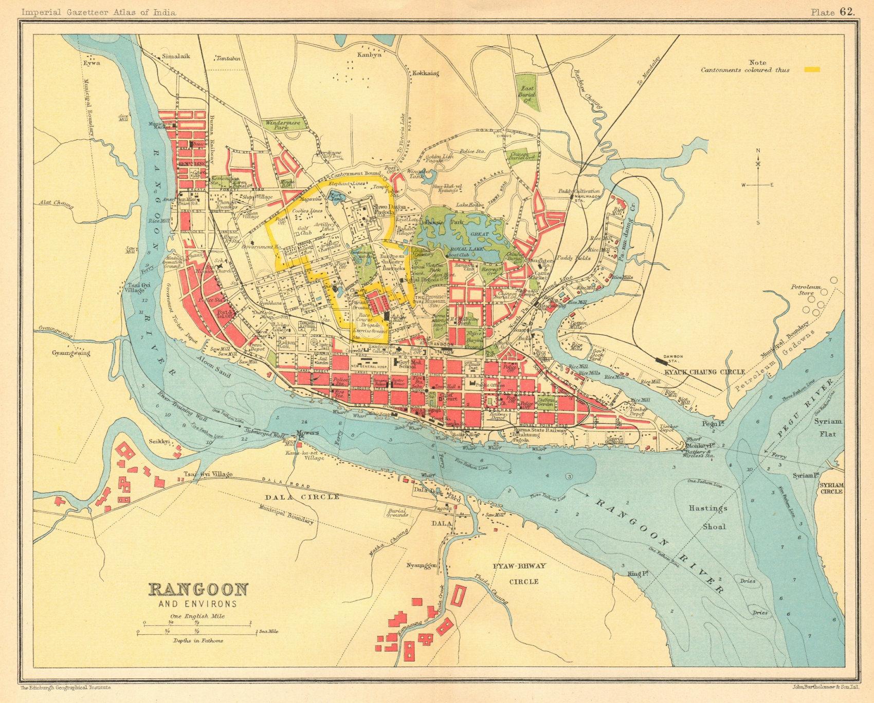 Associate Product Rangoon / Yangon town city plan. Myanmar. Cantonment. British Burma 1931 map