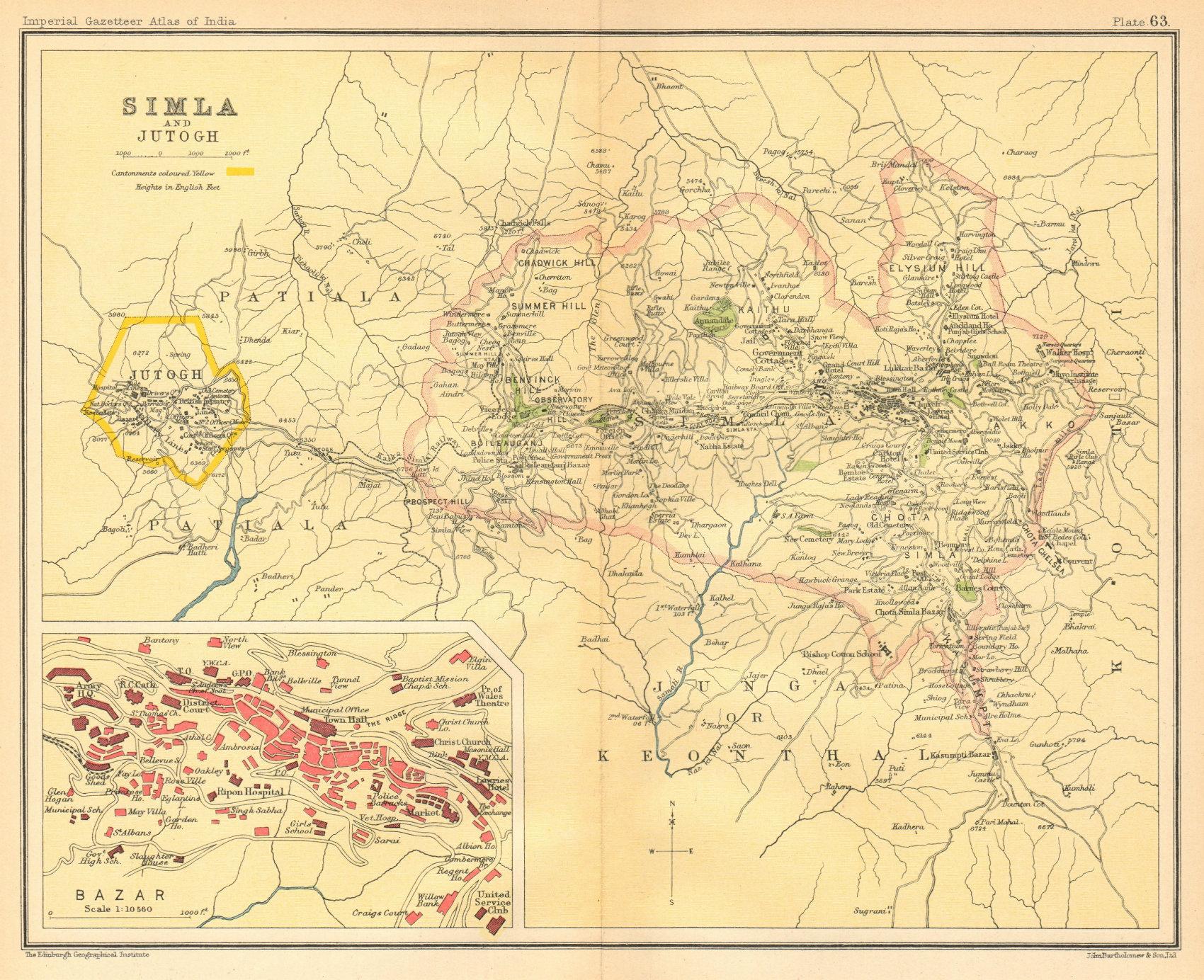 Associate Product Simla / Shimla & Jutogh cantonment. Lakkar Bazaar. British India 1931 old map