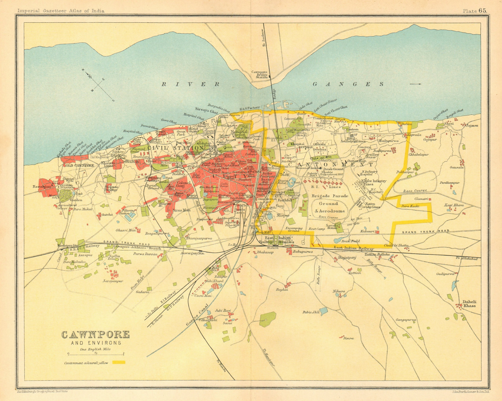 Associate Product Cawnpore/Kanpur town city plan. Key buildings Cantonment. British India 1931 map