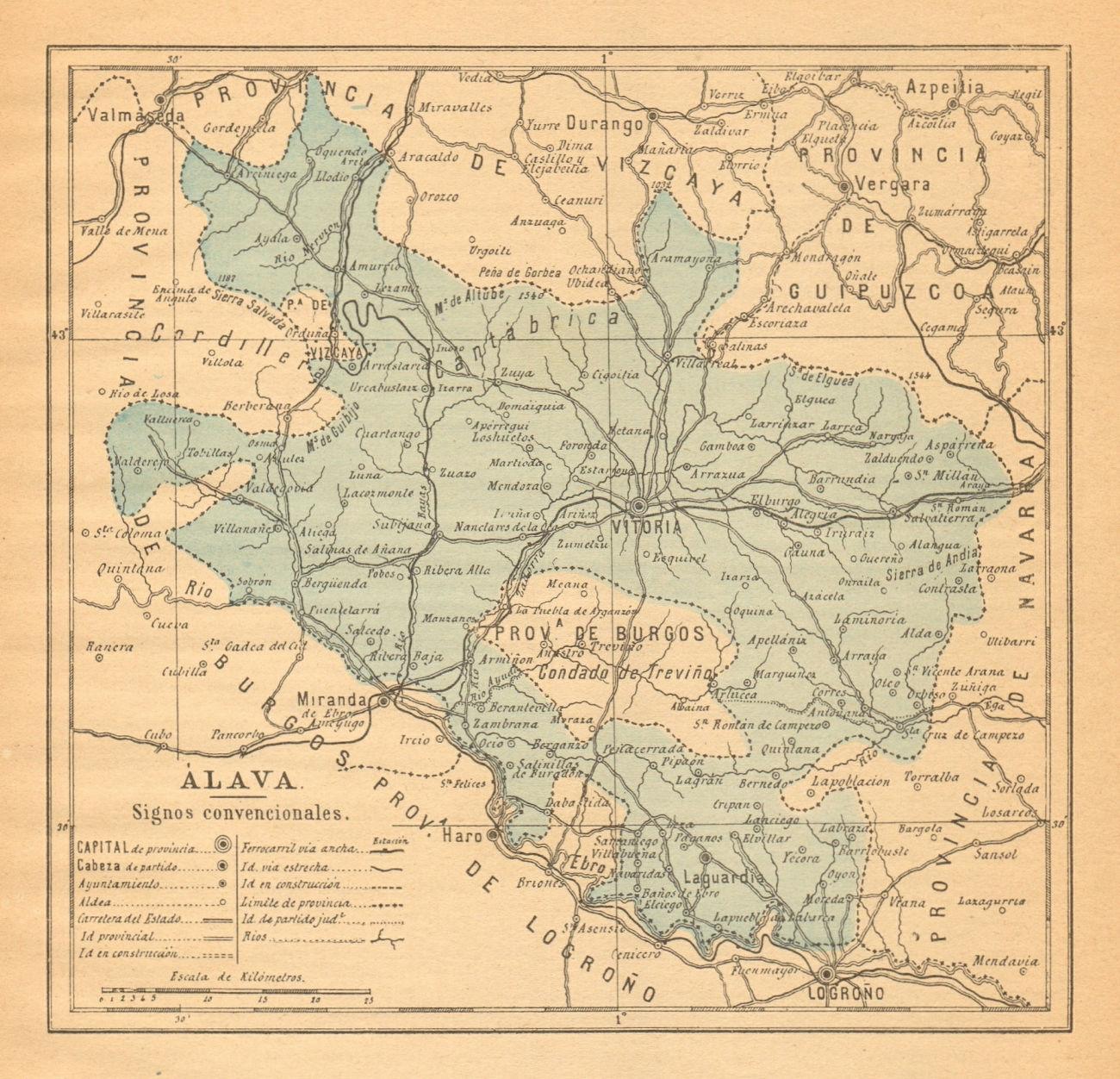 ÁLAVA ALAVA ARABA. Vitoria. Gasteiz. Euskadi. Mapa antiguo de la provincia 1914