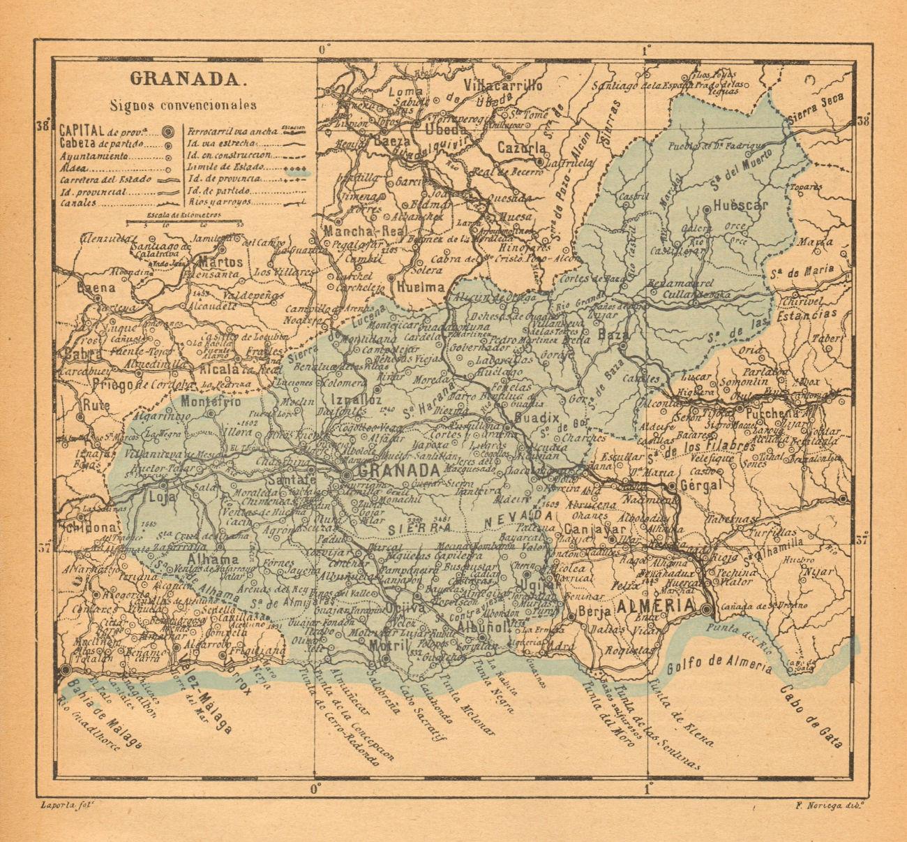 GRANADA. Andalucia. Mapa antiguo de la provincia 1914 old antique chart