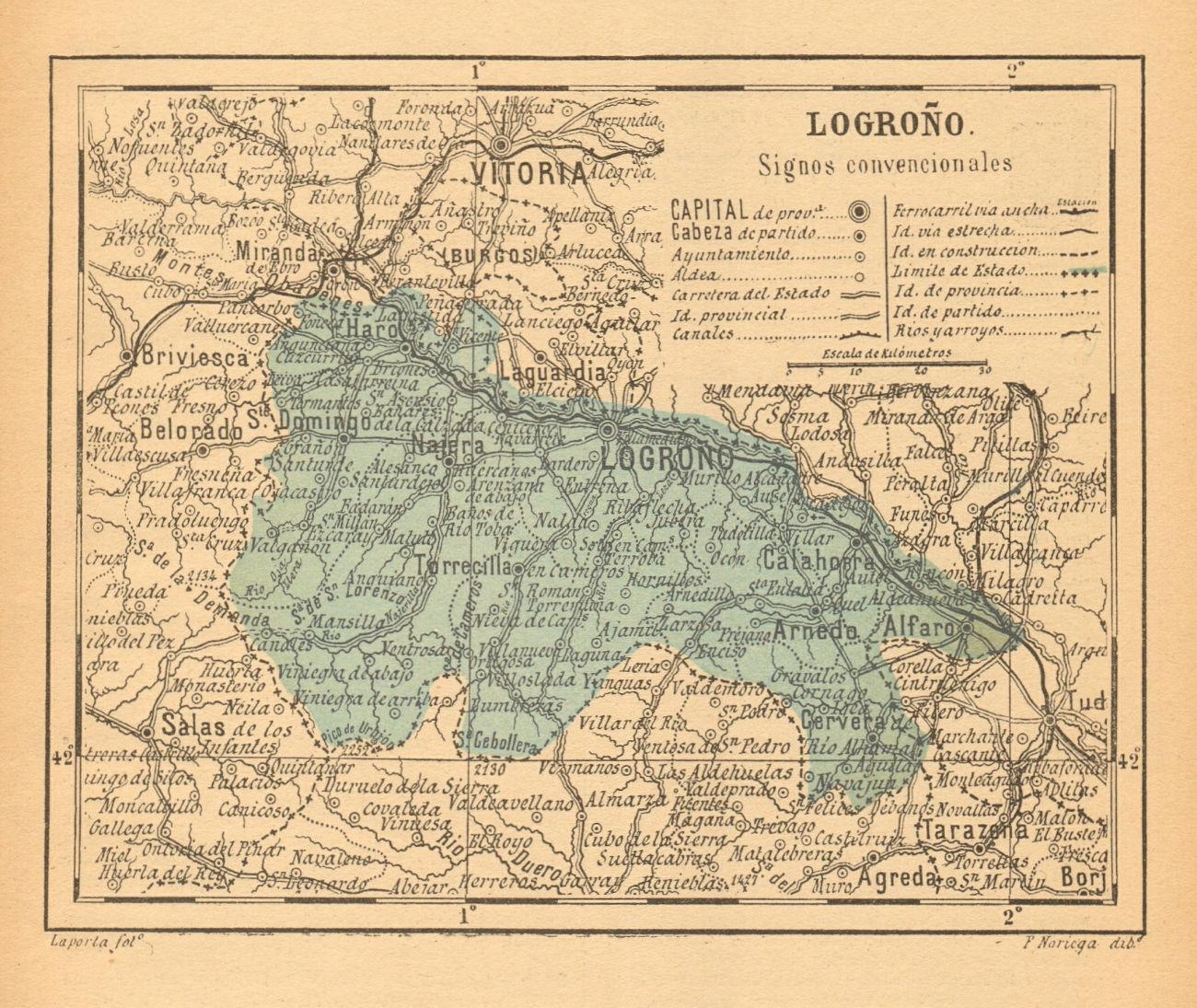 LA RIOJA. Logroño Logrono. Mapa antiguo de la provincia 1914 old antique