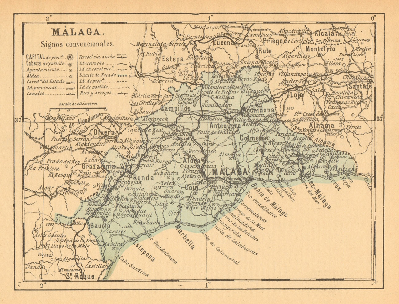 MÁLAGA. Malaga. Andalucia. Mapa antiguo de la provincia 1914 old antique