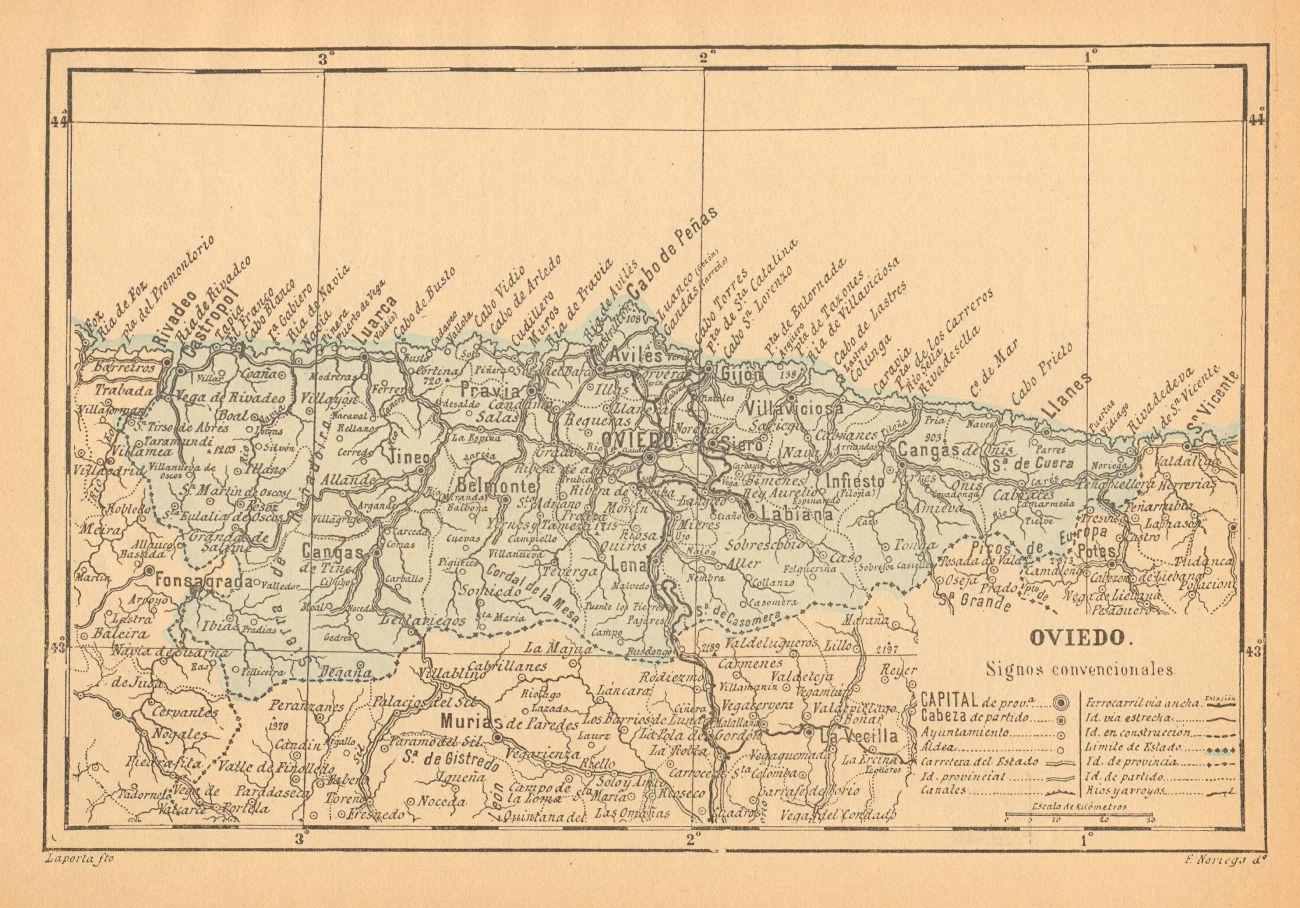 ASTURIAS. Oviedo. Mapa antiguo de la provincia 1914 old antique plan chart