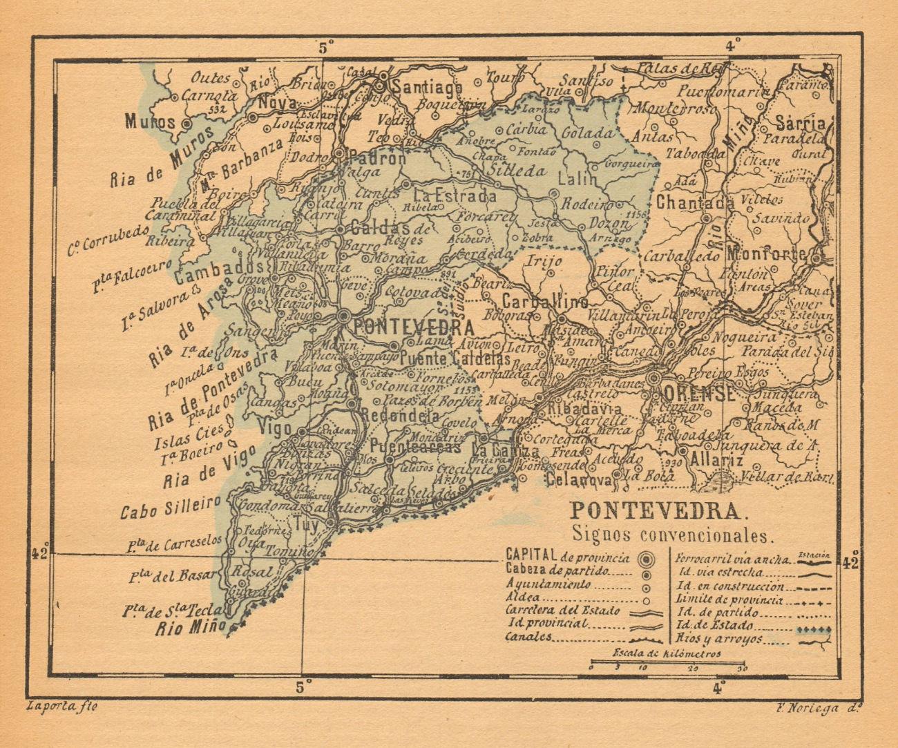 PONTEVEDRA. Galicia. Mapa antiguo de la provincia 1914 old antique chart