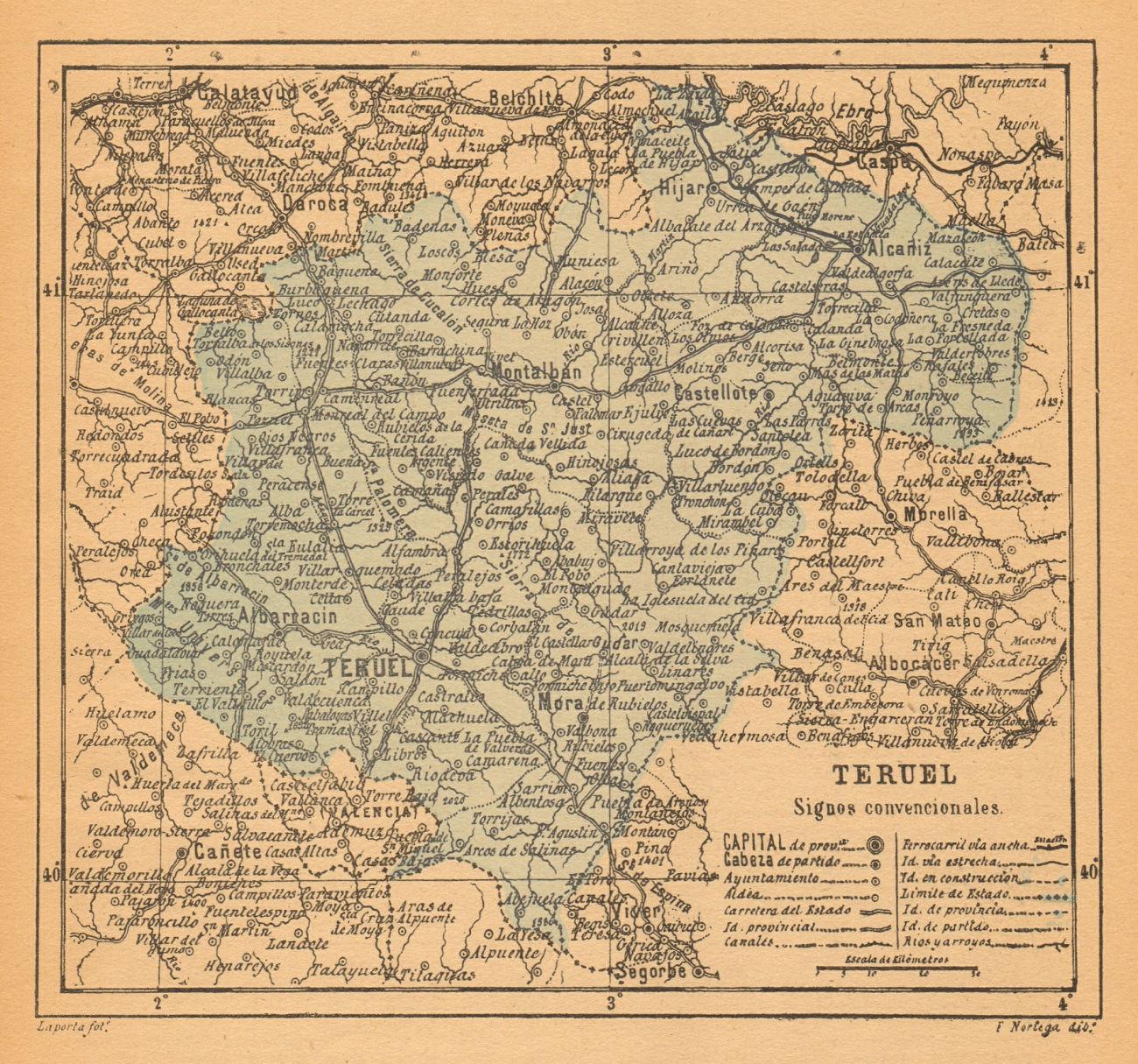 TERUEL. Aragon. Mapa antiguo de la provincia 1914 old antique plan chart