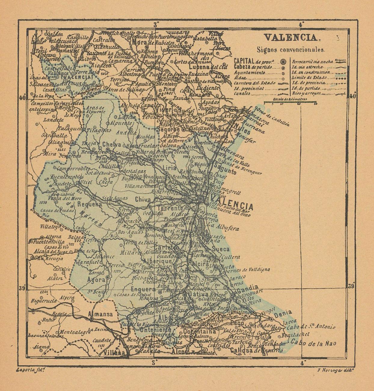 VALENCIA. València. Comunidad Valenciana. Mapa antiguo de la provincia 1914