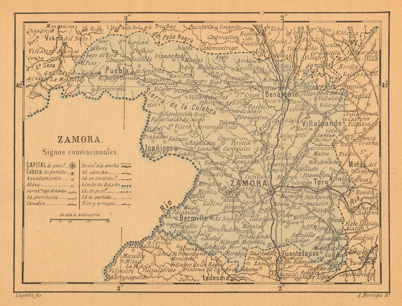 ZAMORA. Castilla y León. Mapa antiguo de la provincia 1914 old antique