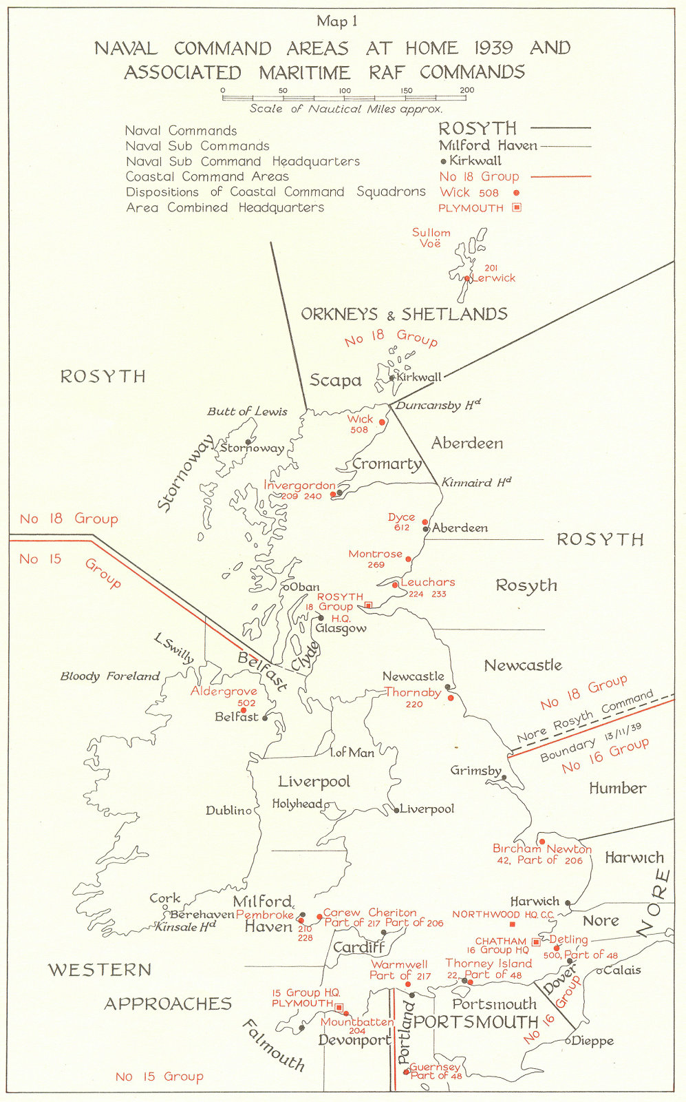 Associate Product UK. Naval Command Areas at home 1939 & Maritime RAF Commands 1954 old map