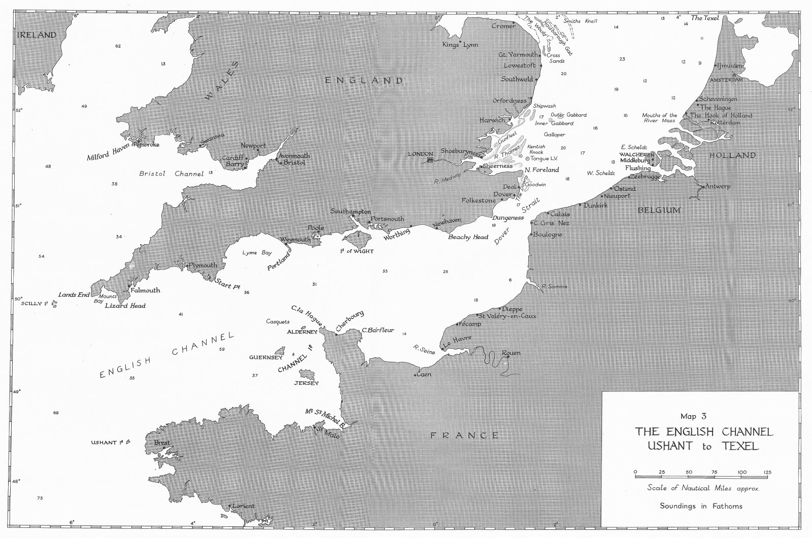 Associate Product WW2. September-December, 1939. English Channel, Ushant to Texel 1954 old map