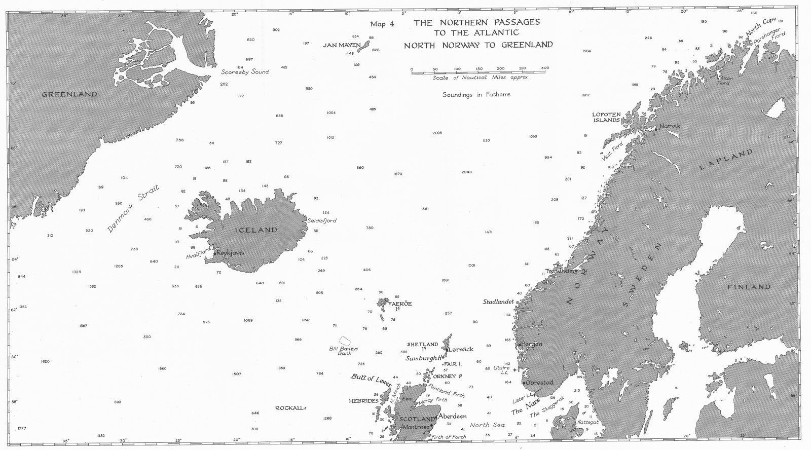 Associate Product NAVAL WW2. Sept-Dec 1939. Northern Passages Atlantic, Norway Greenland 1954 map