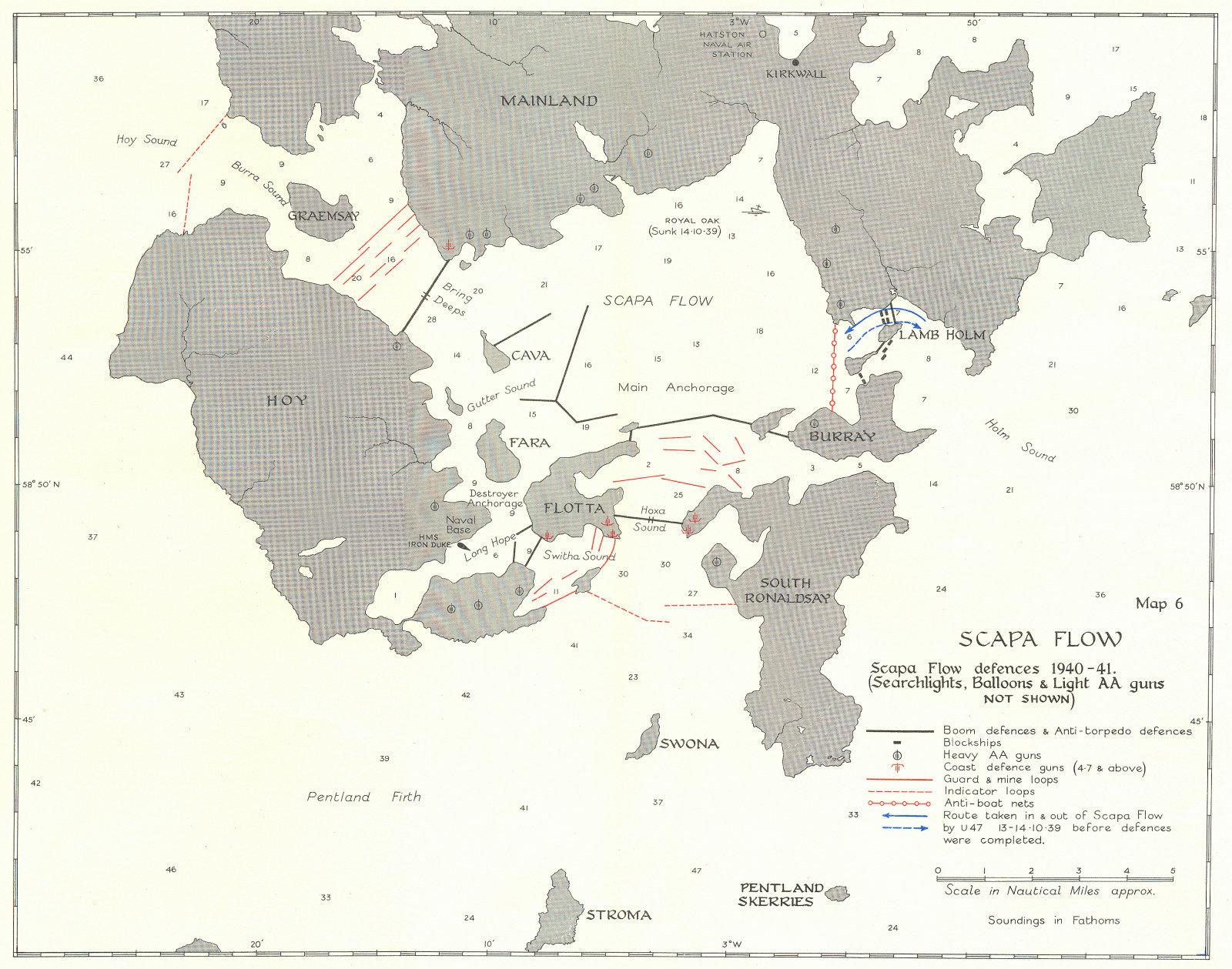 Associate Product SCOTLAND. Scapa flow defences 1940-41 1954 old vintage map plan chart
